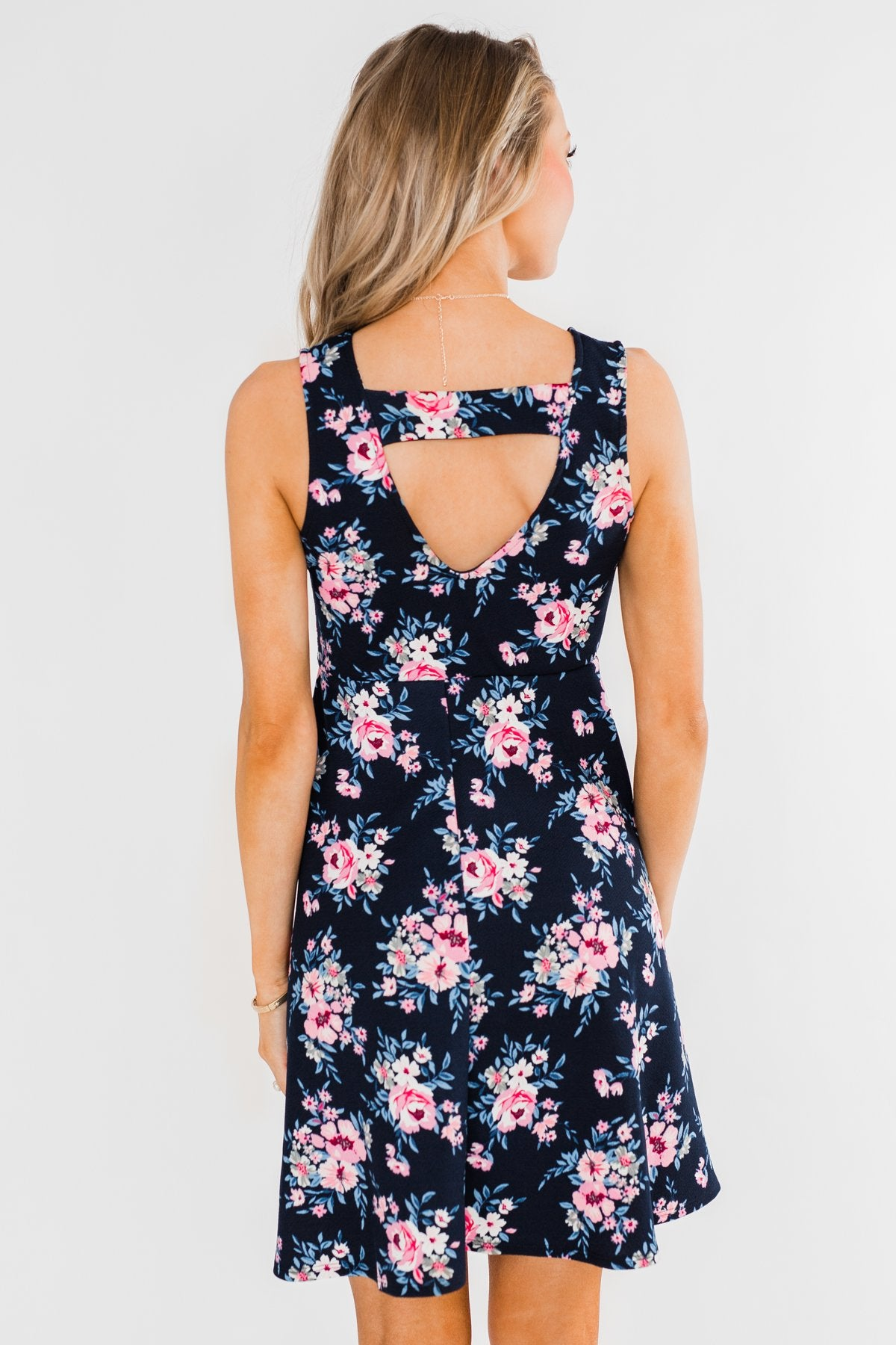 Enchanted Evening Floral Dress- Navy