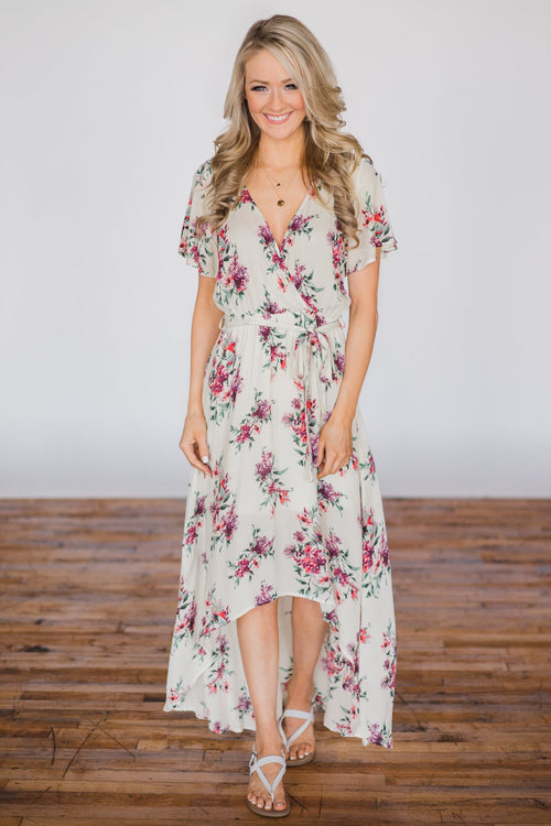 Summer Blues Floral Hi-Lo Dress - Cream