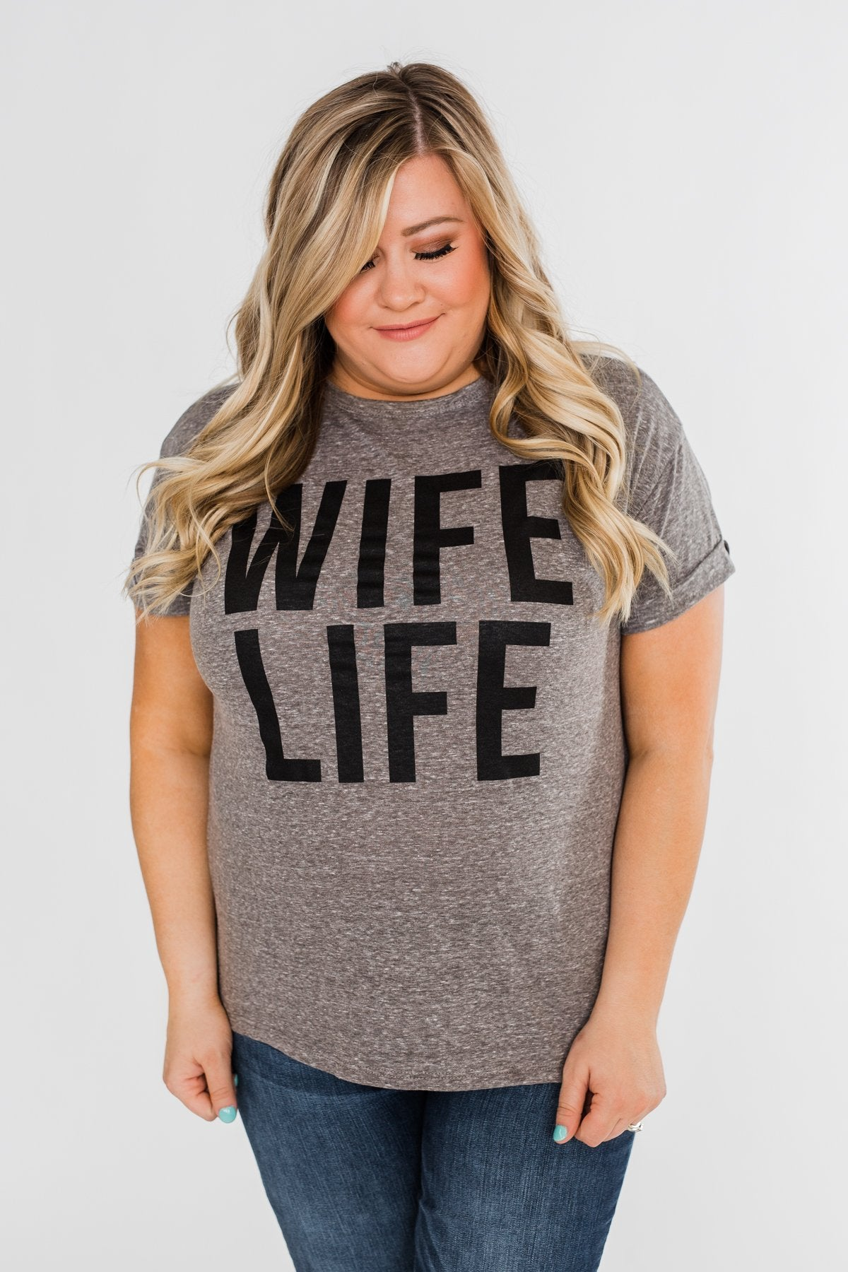 """Wife Life"" Short Sleeve Top- Grey"