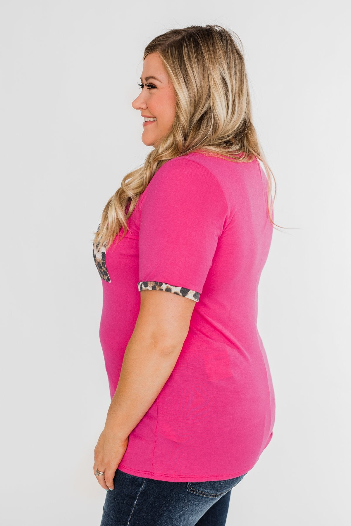 Time of our Life Leopard Pocket Top- Fuchsia