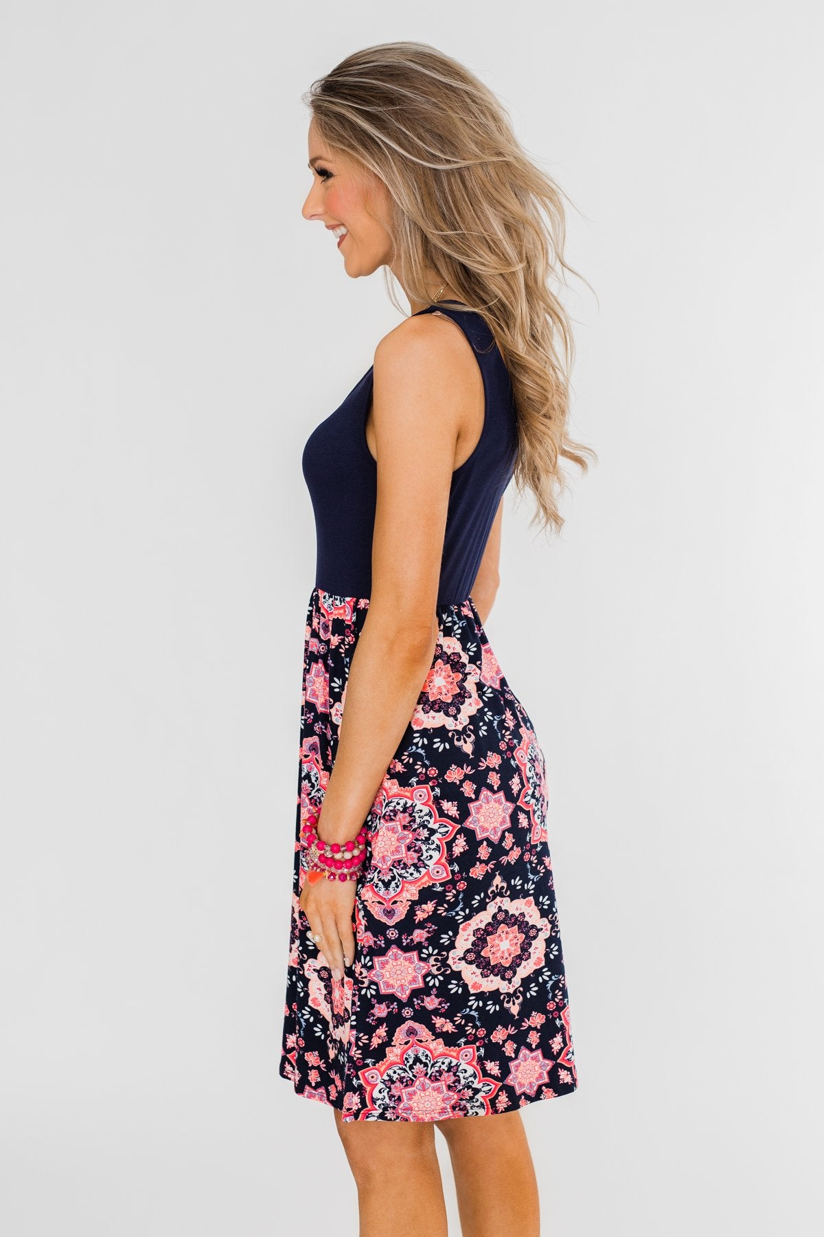 Full of Excitement Printed Dress- Navy