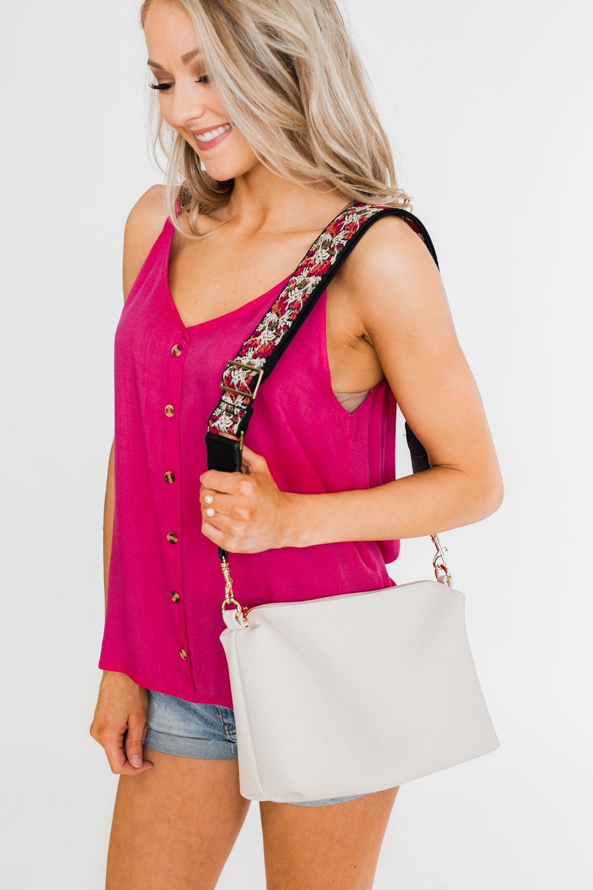Adjustable Printed Shoulder Strap- Pink, Cream, Green