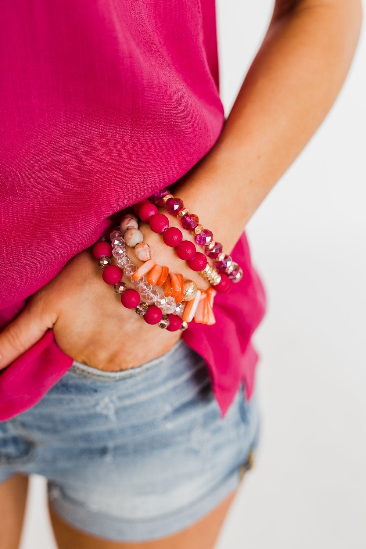 Unique Beads Bracelet Set- Fuchsia
