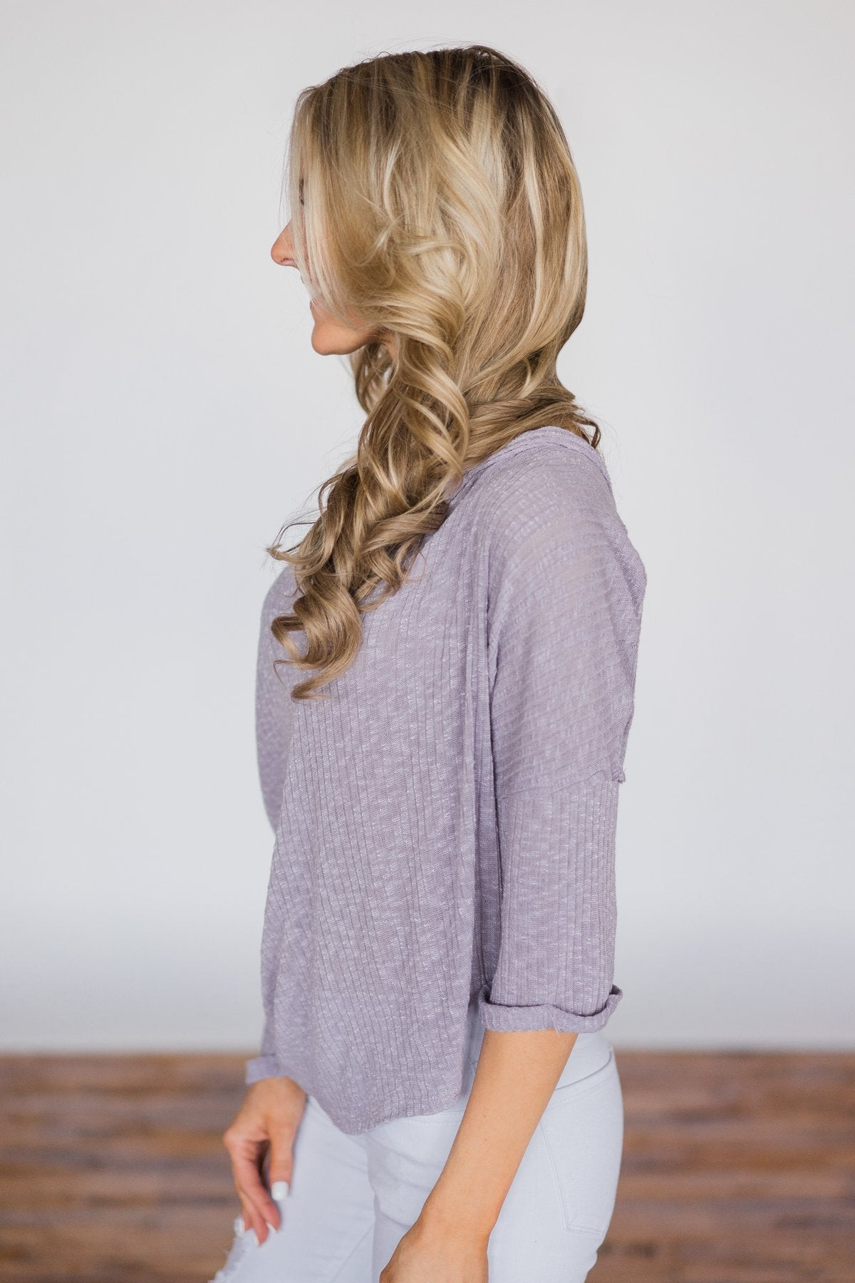 Cozy in Spring Lavender Knot Top