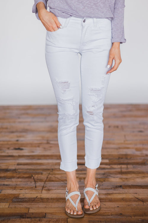 Kan Can - White Distressed Denim Jeans