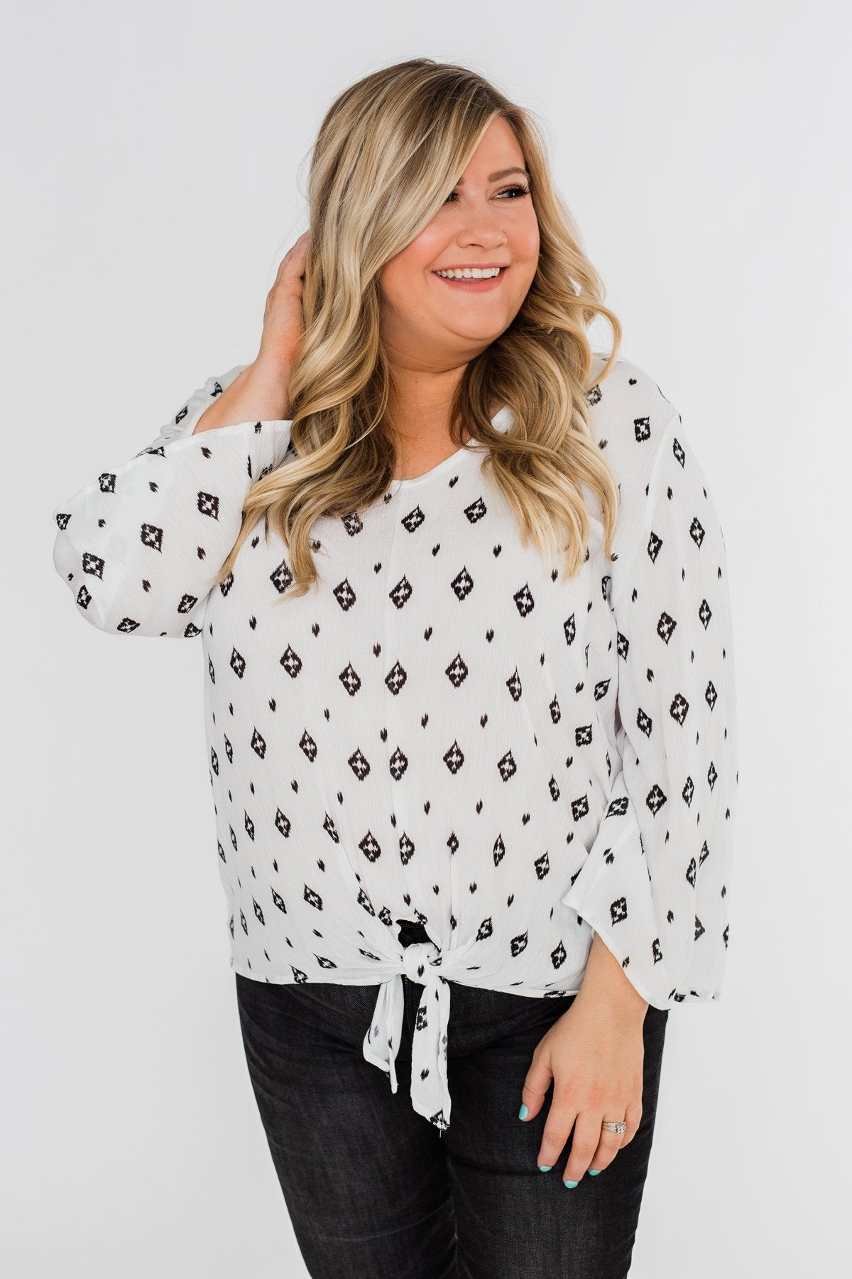 Something About You Printed Tie Blouse- White