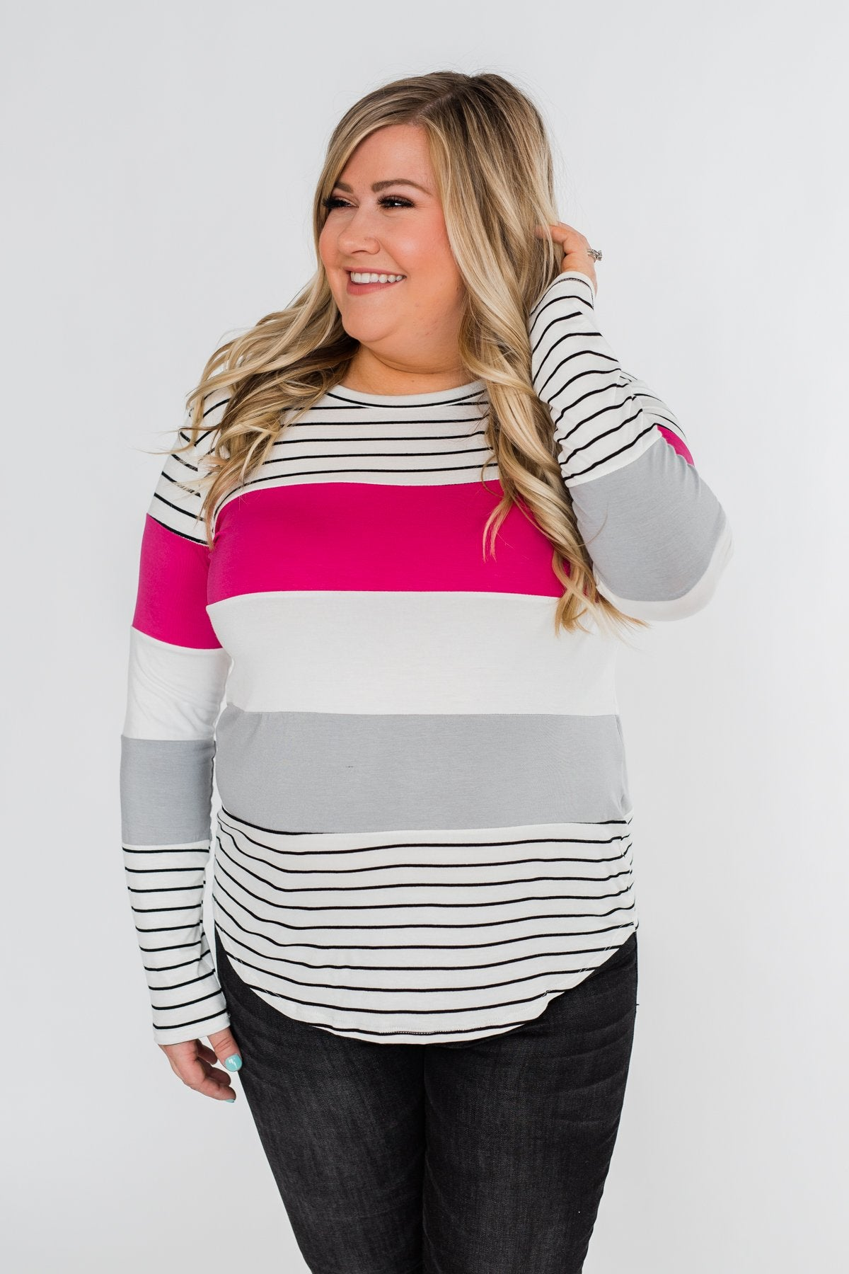 Take It Easy Striped Color Block Top- Fuchsia & Silver