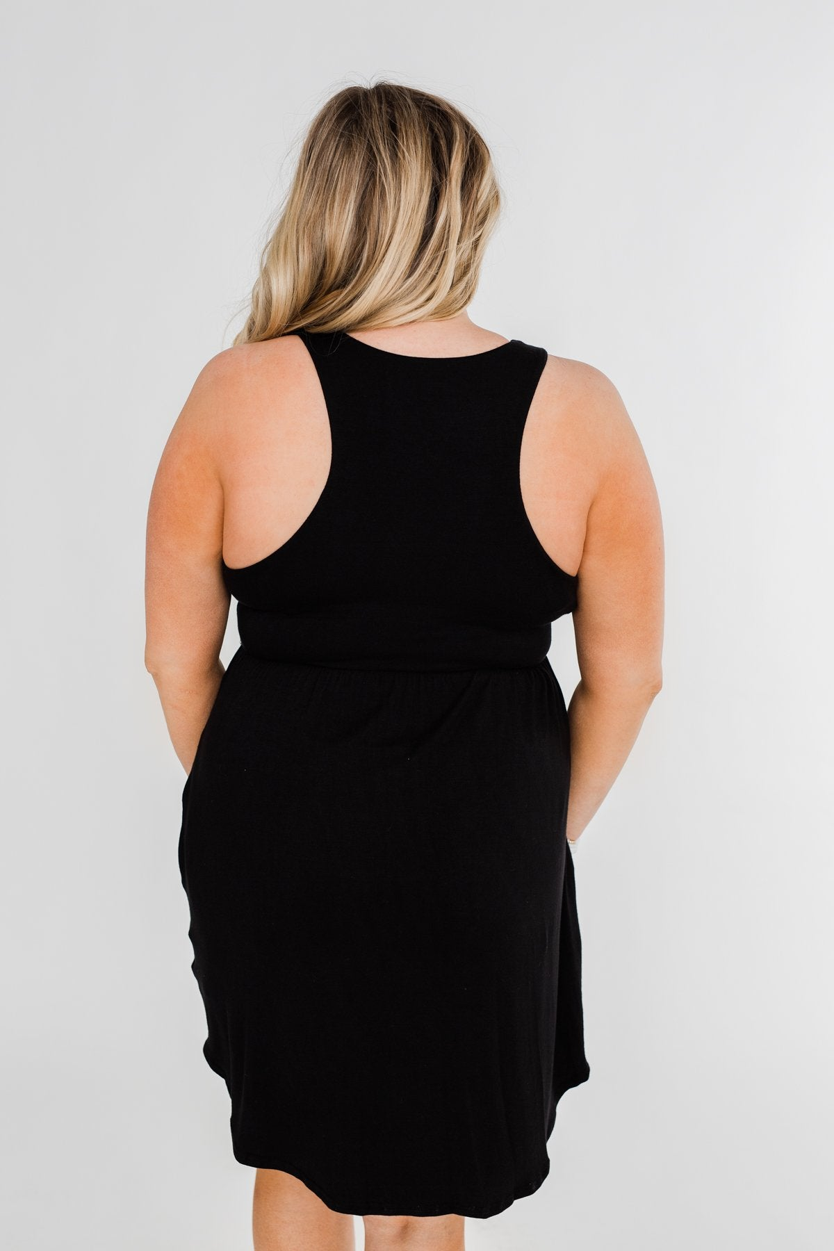 Solid Black Pocket Dress