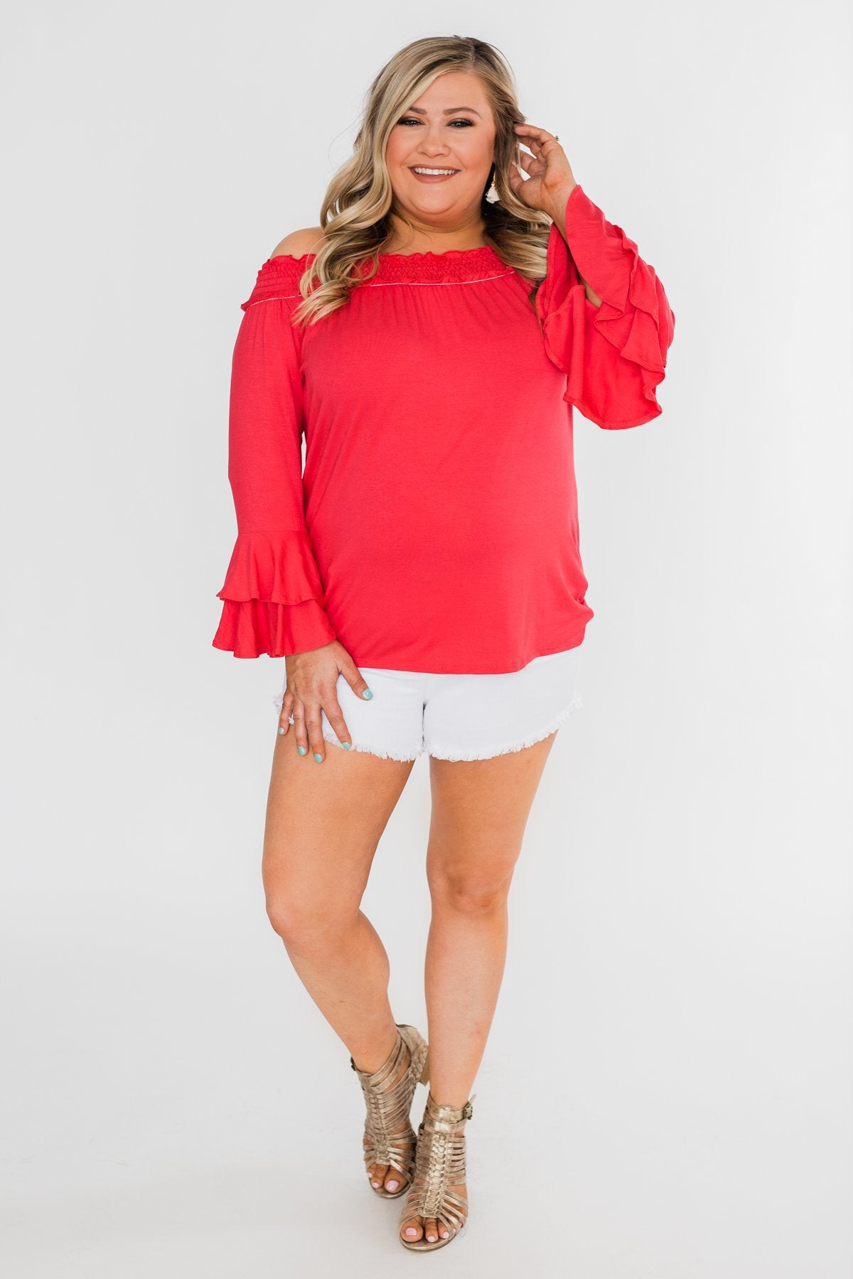 Everlasting Love Off The Shoulder Ruffle Top- Dark Strawberry