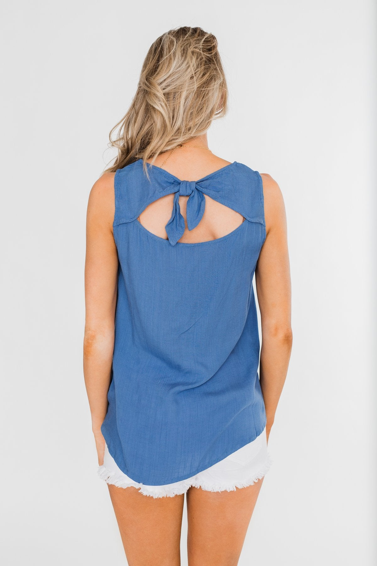 Take It From Me Tie Back Tank Top- Blue