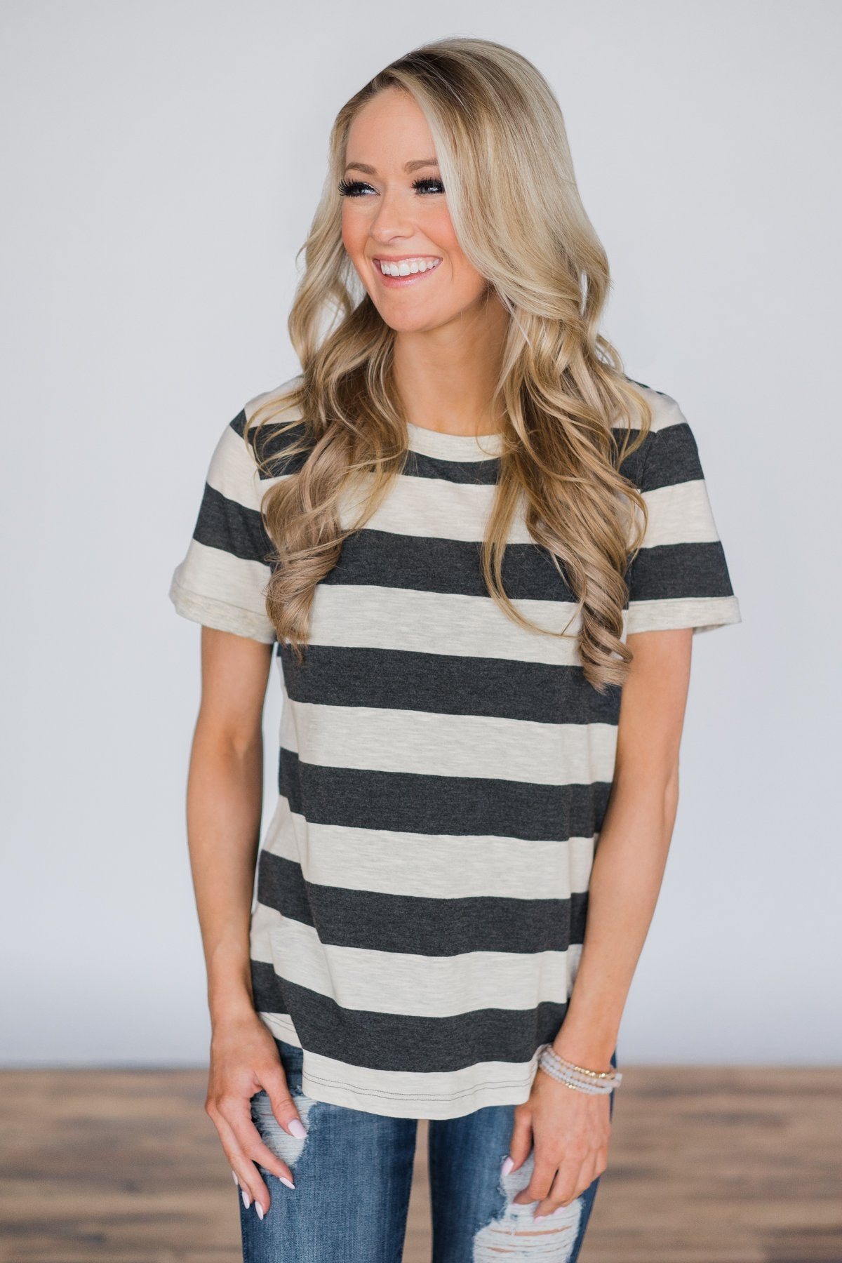 A Fine Time Striped Top ~ Charcoal