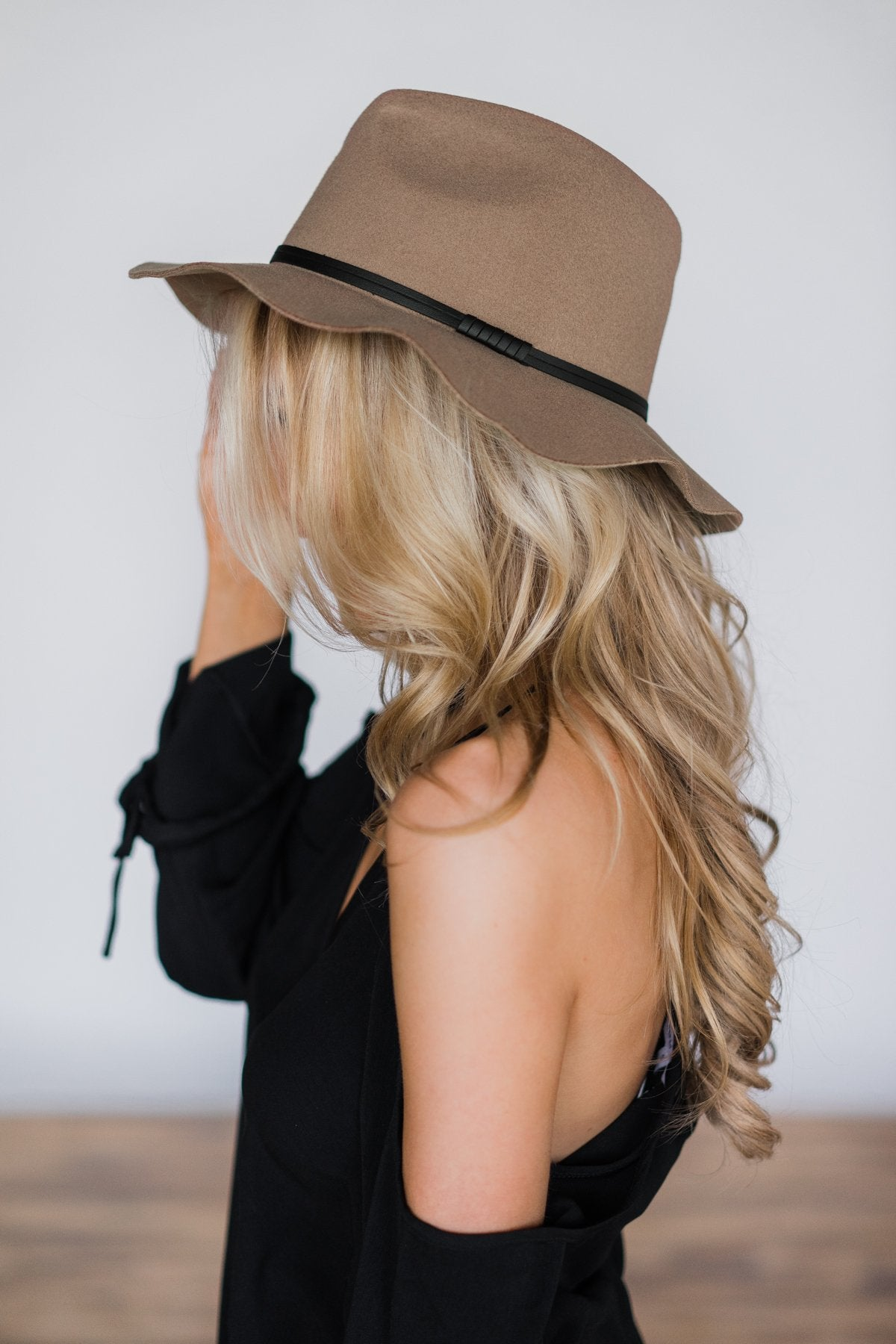 Floppy Brimmed Felt Fedora- Brown