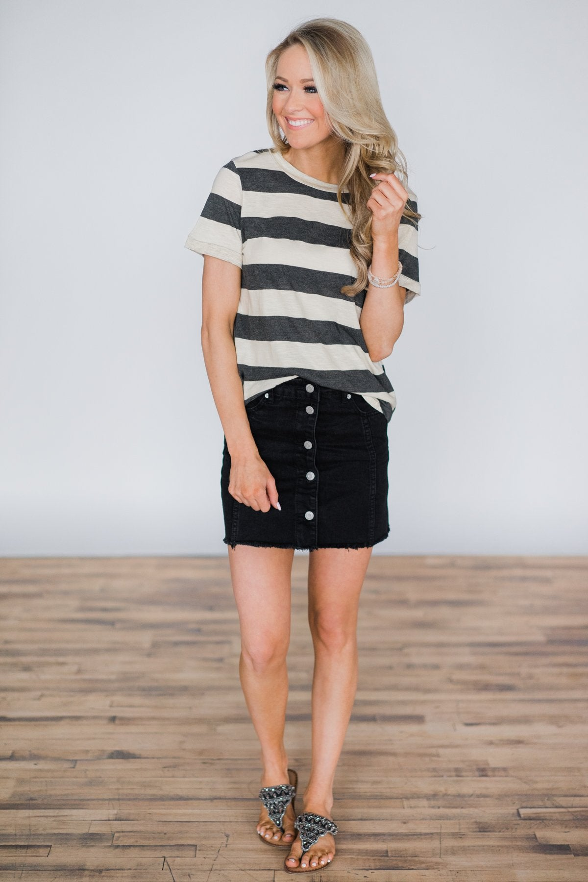 Sassy Black Denim Skirt