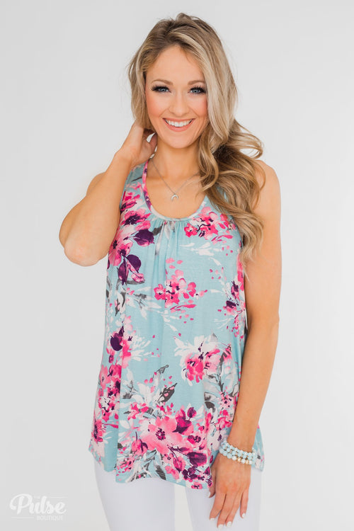 1601dcce973 Blossom Into Love Floral Racerback Tank- Sky Blue