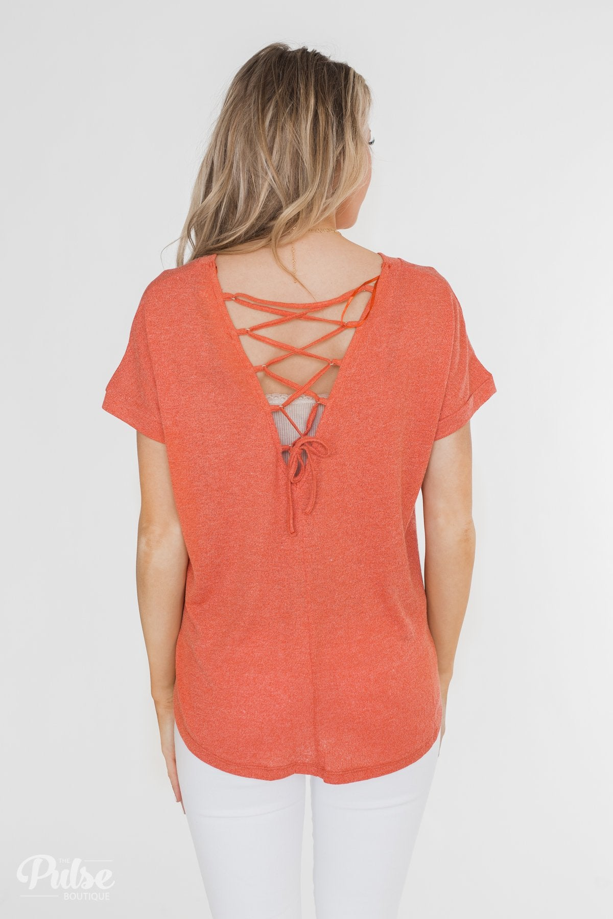 Crossing Into Casual Lace Back Top- Burnt Orange