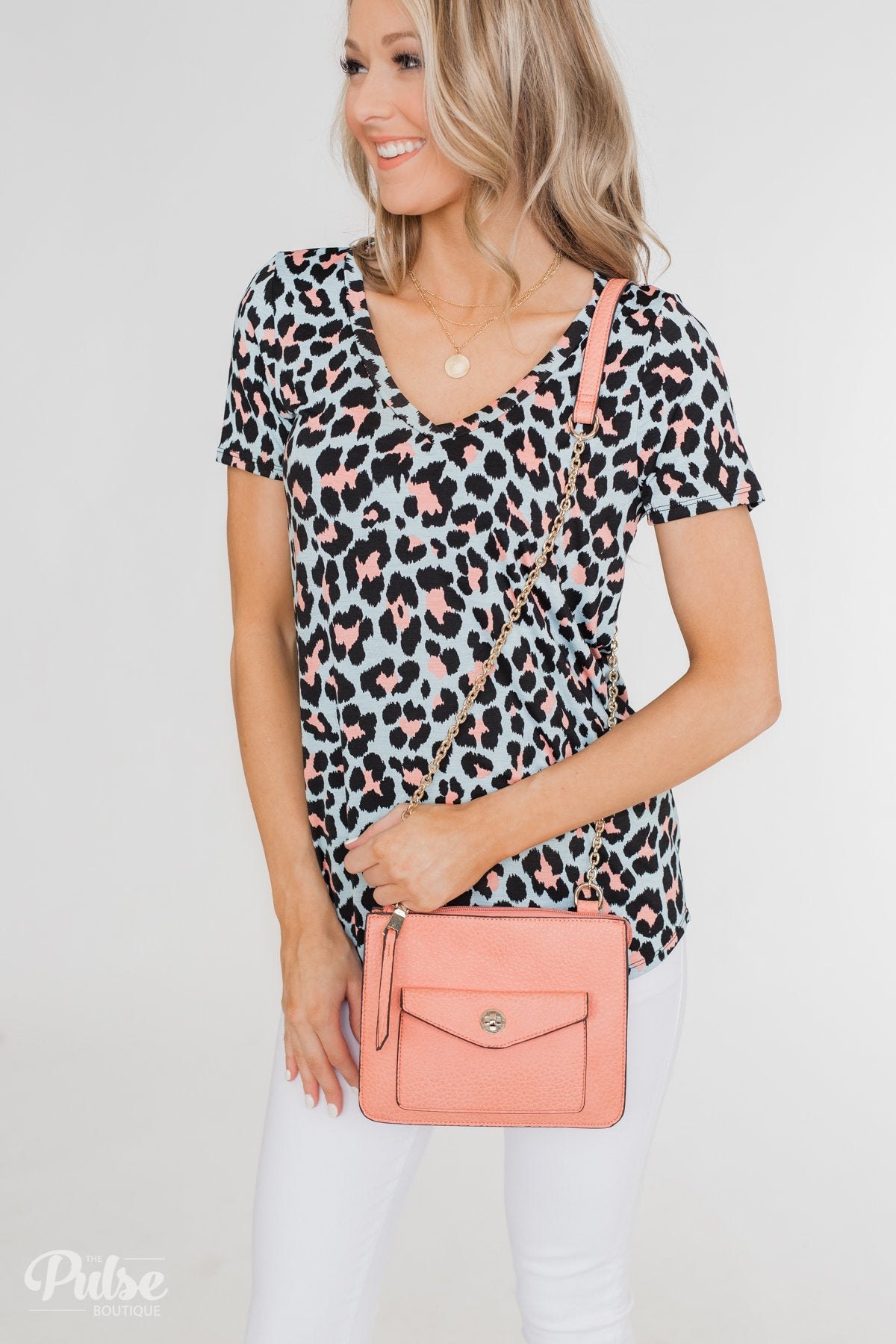 Front Pocket Crossbody Purse- Peach