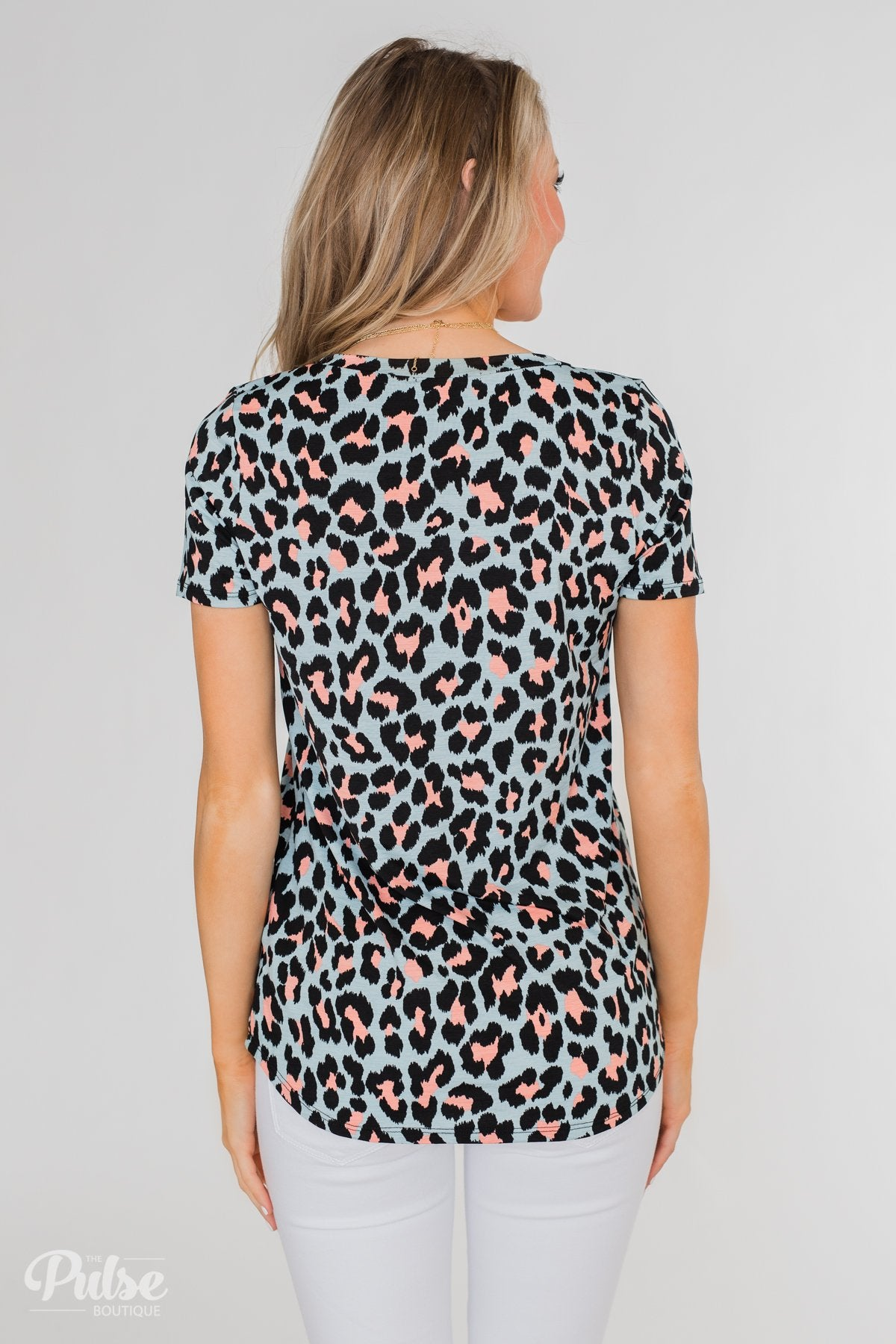 Can't Go Wrong V-Neck Leopard Top- Light Blue & Peach