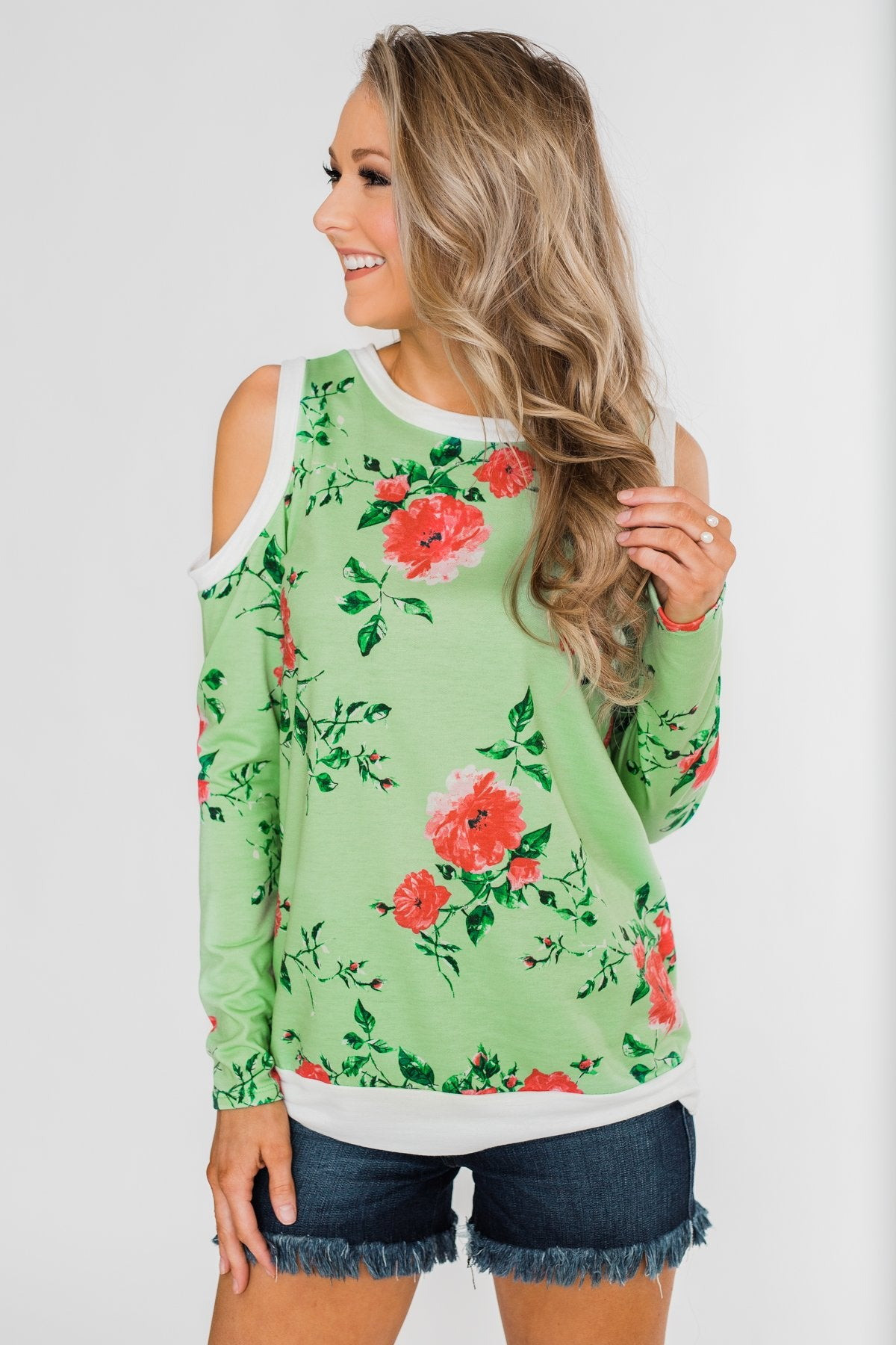 Made to Stand Out Floral Cold Shoulder Top- Shamrock Green