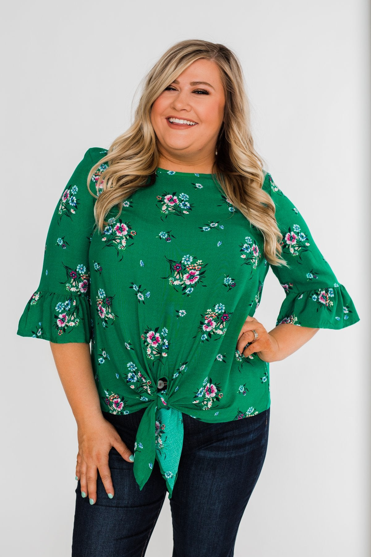 Life In A Fairytale Floral Top- Enchanted Green