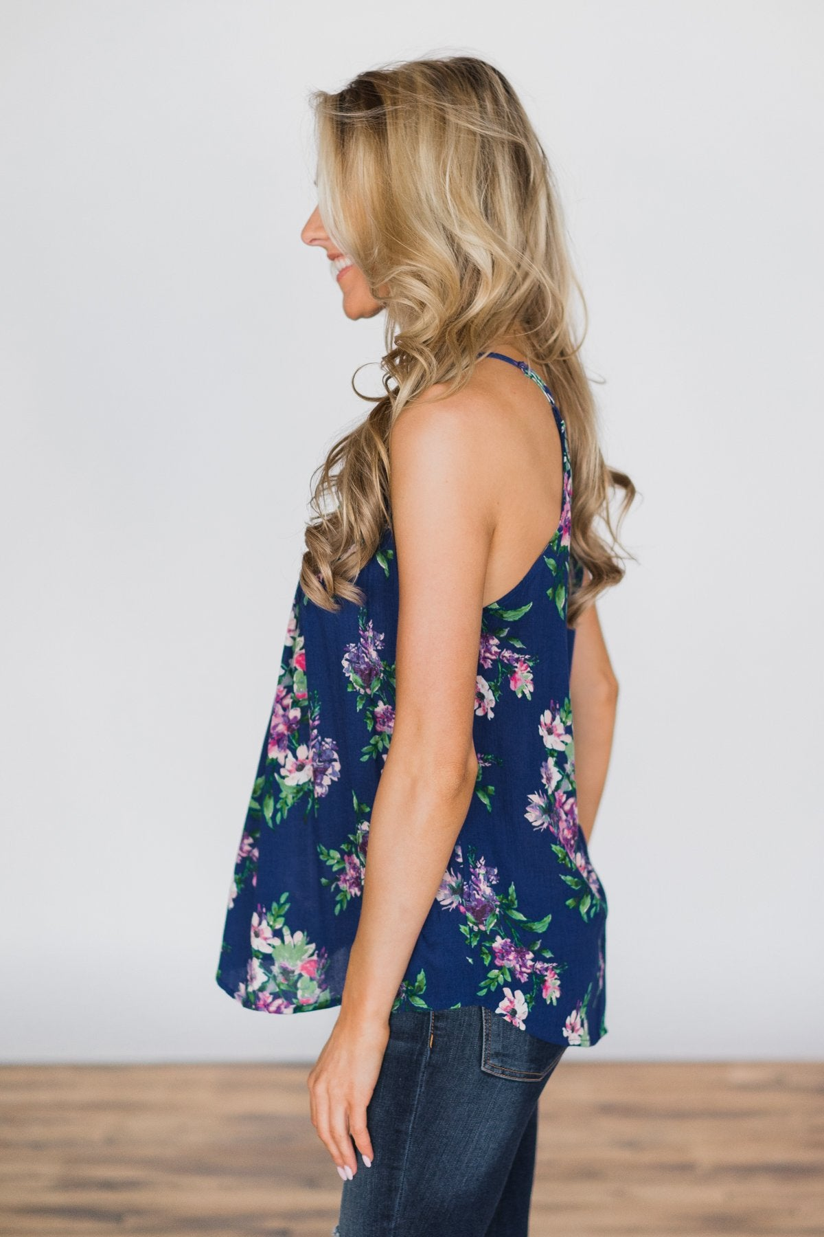 Embrace the Floral Halter Tank Top- Admiral Blue