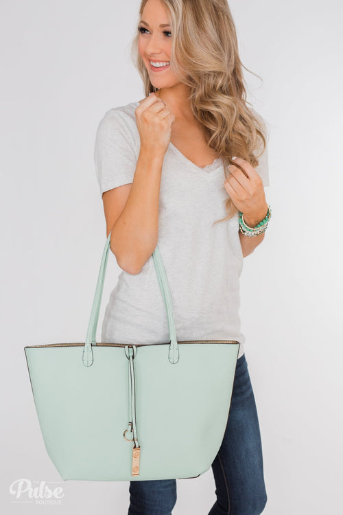 Reversible Tote- Mint/Gold
