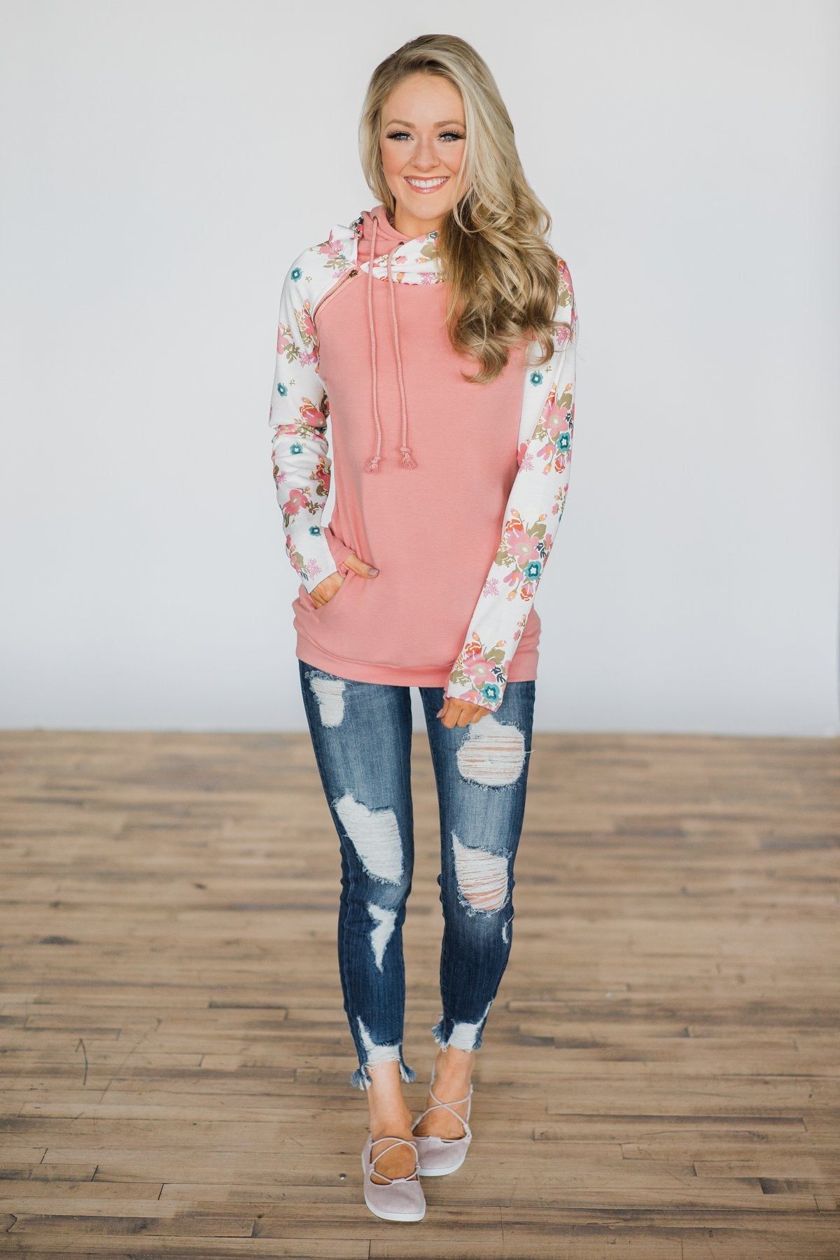 Ampersand Ave. Double Hooded Sweatshirt ~ Ivory Floral Outfit