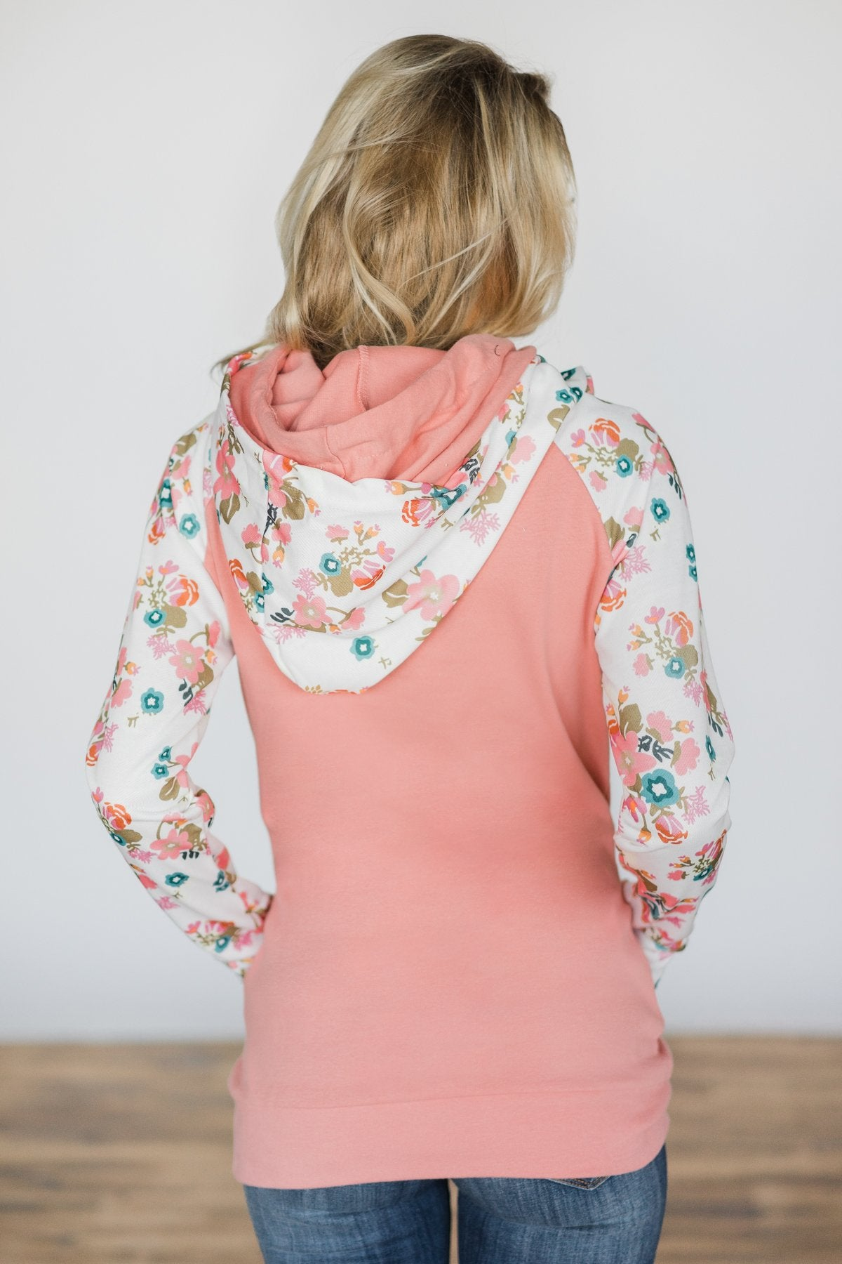 Ampersand Ave. Double Hooded Sweatshirt ~ Ivory Floral