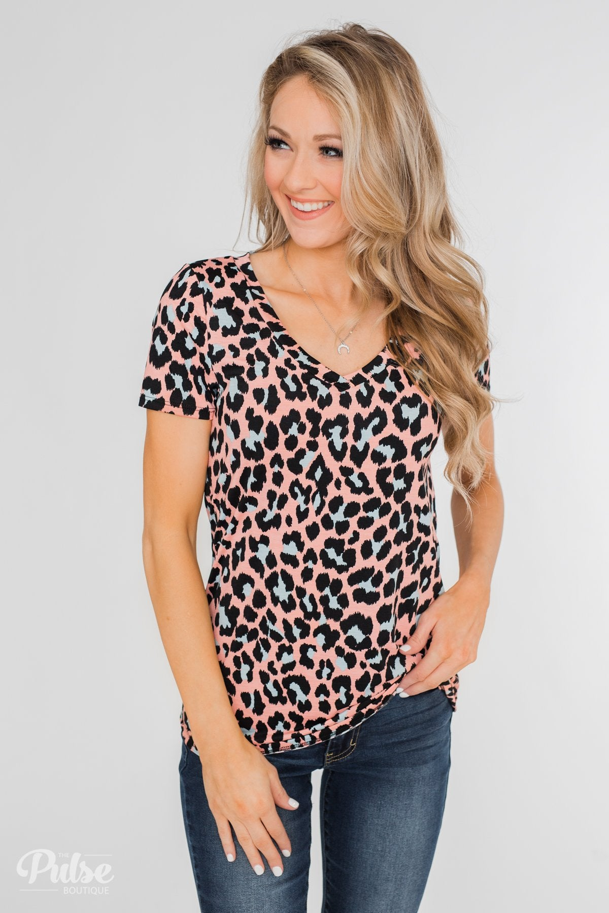 Can't Go Wrong V-Neck Leopard Top- Peach & Blue