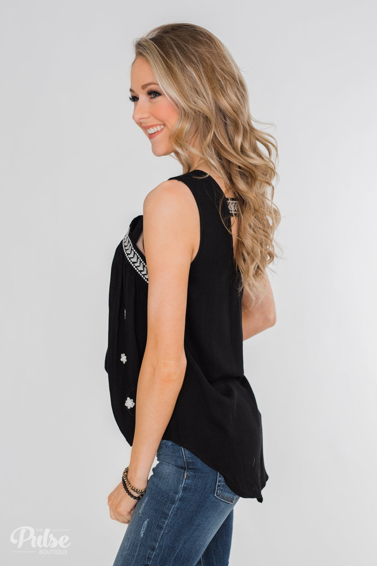 Lovely Nights Criss Cross Tank Top- Black