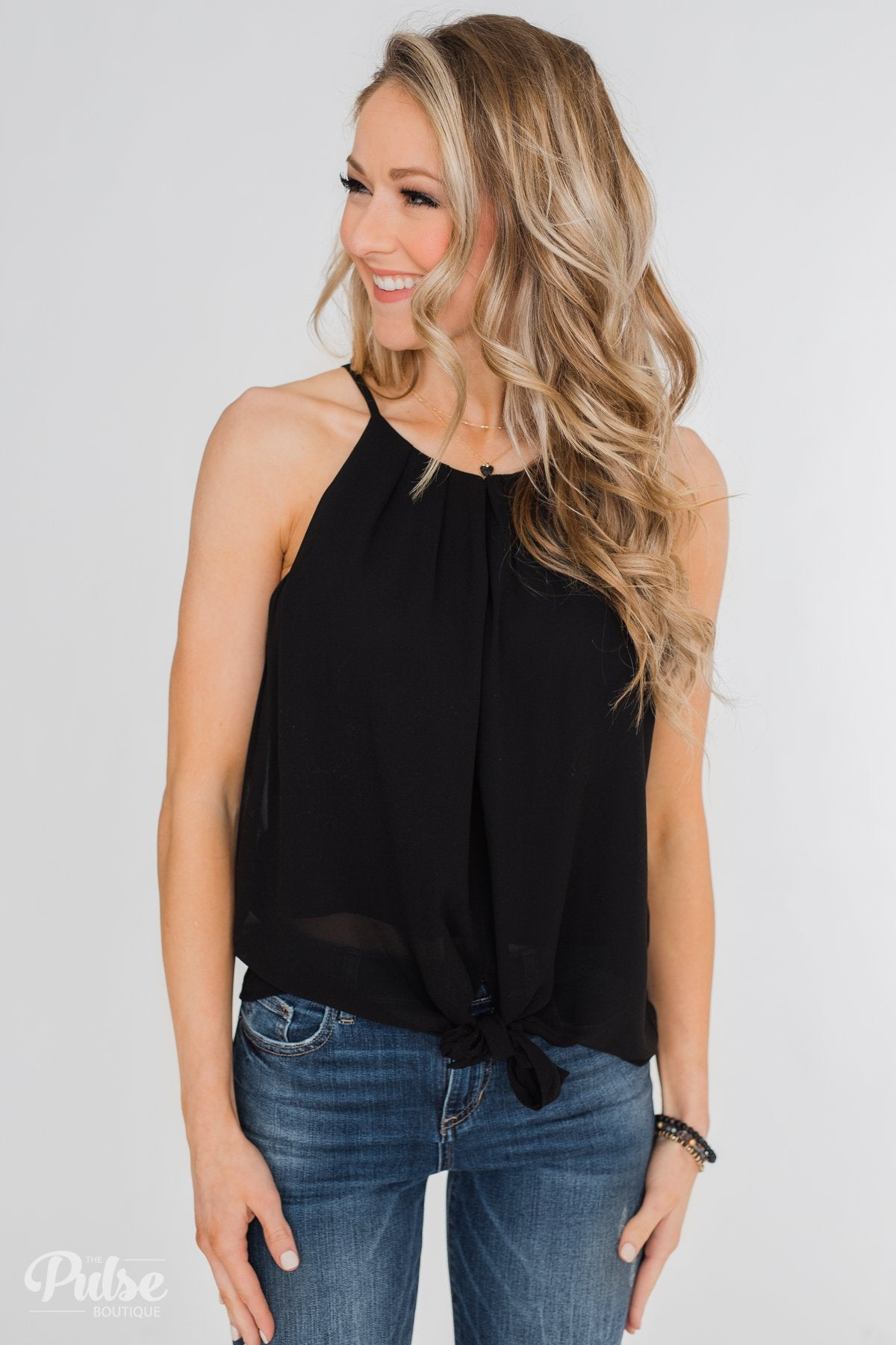 Something To Say Keyhole Halter Tank- Black