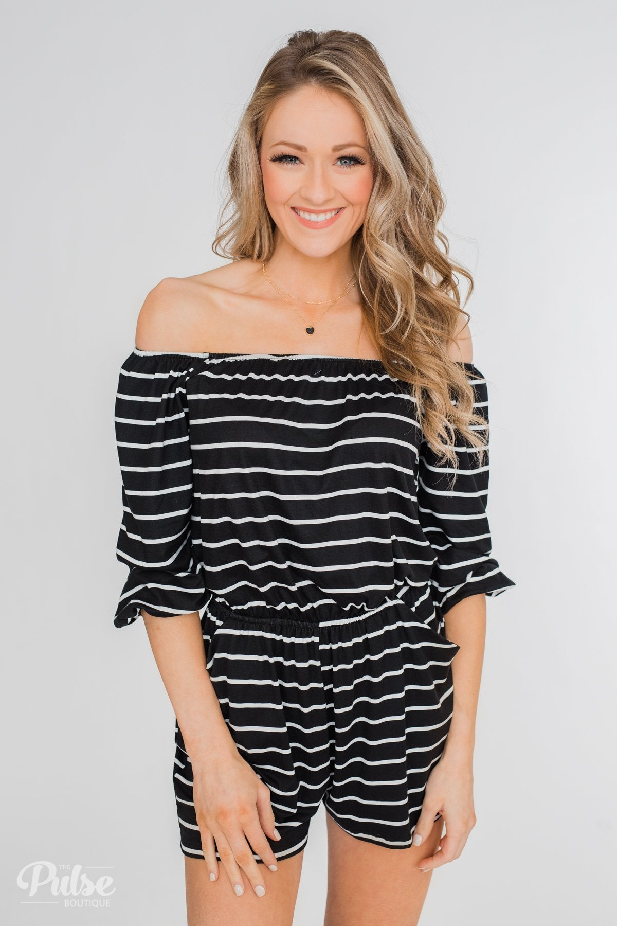 Anything For You Off The Shoulder Romper- Black