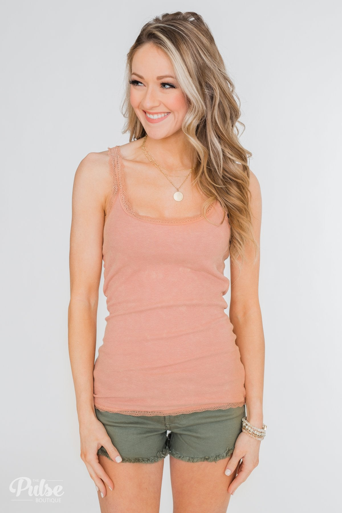 Faded Lace Trimmed Layering Tank- Dusty Peach