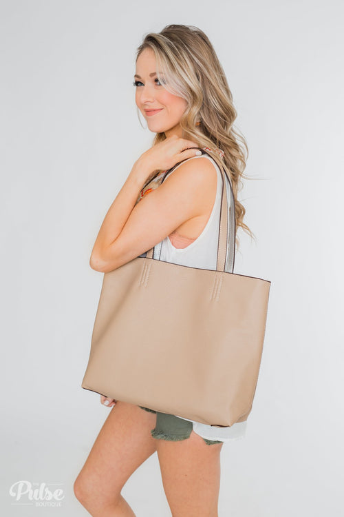 Take Me Anywhere Reversible Tote - Light Beige/Silver