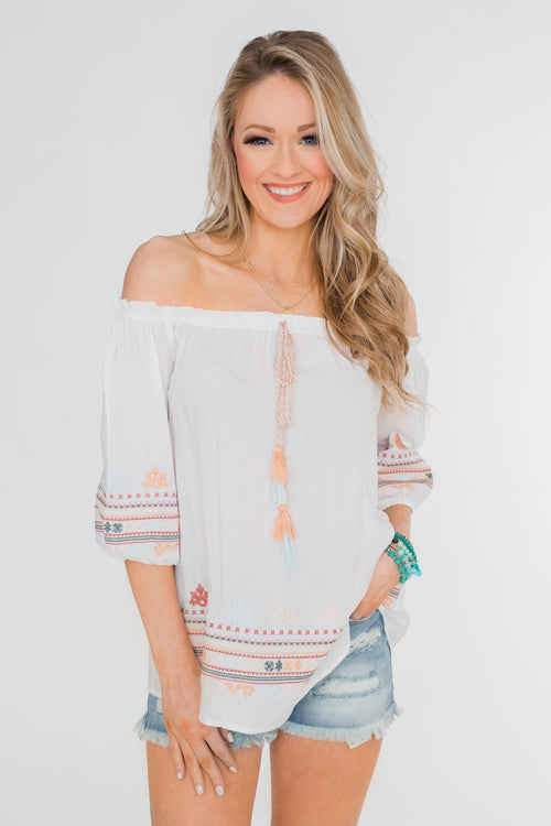 Lyric to My Heart Off The Shoulder Embroider Top- Ivory