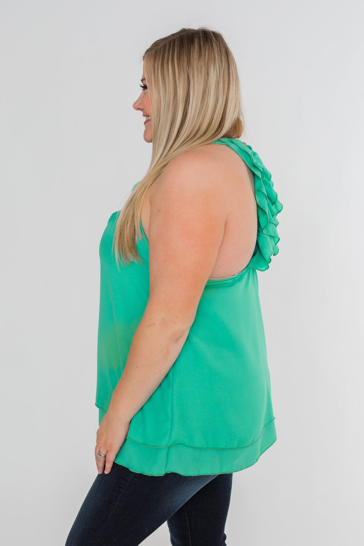 Happy Days Racerback Ruffle Tank Top- Teal