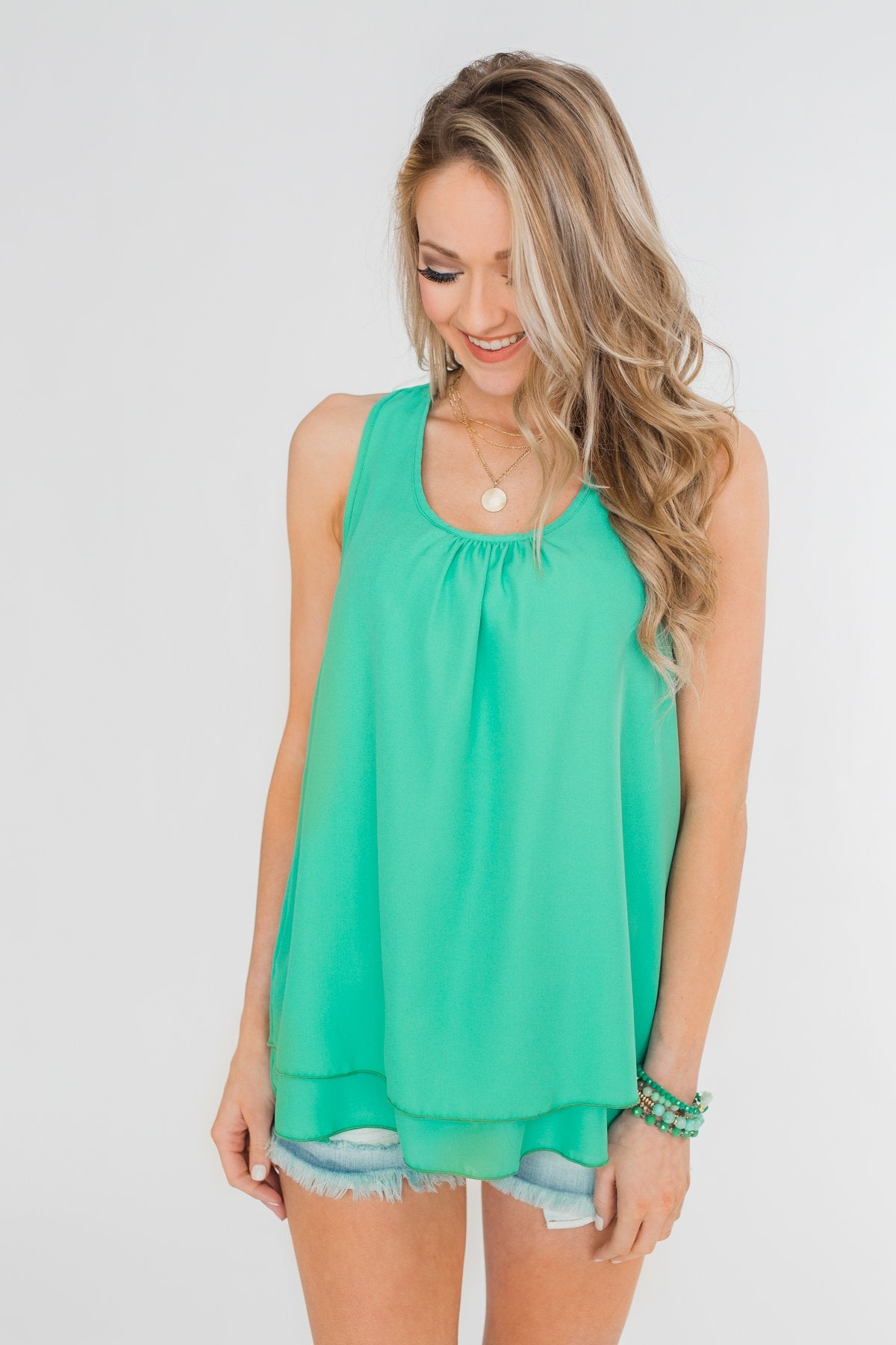 337718b1bf1bd5 Happy Days Racerback Ruffle Tank Top- Teal – The Pulse Boutique
