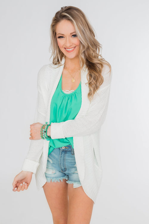 Delightful Days Knitted Drape Cardigan- Ivory