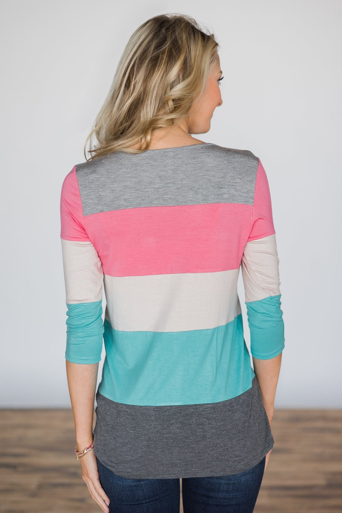 Center of Attention Top ~ Pink Lemonade & Island Blue