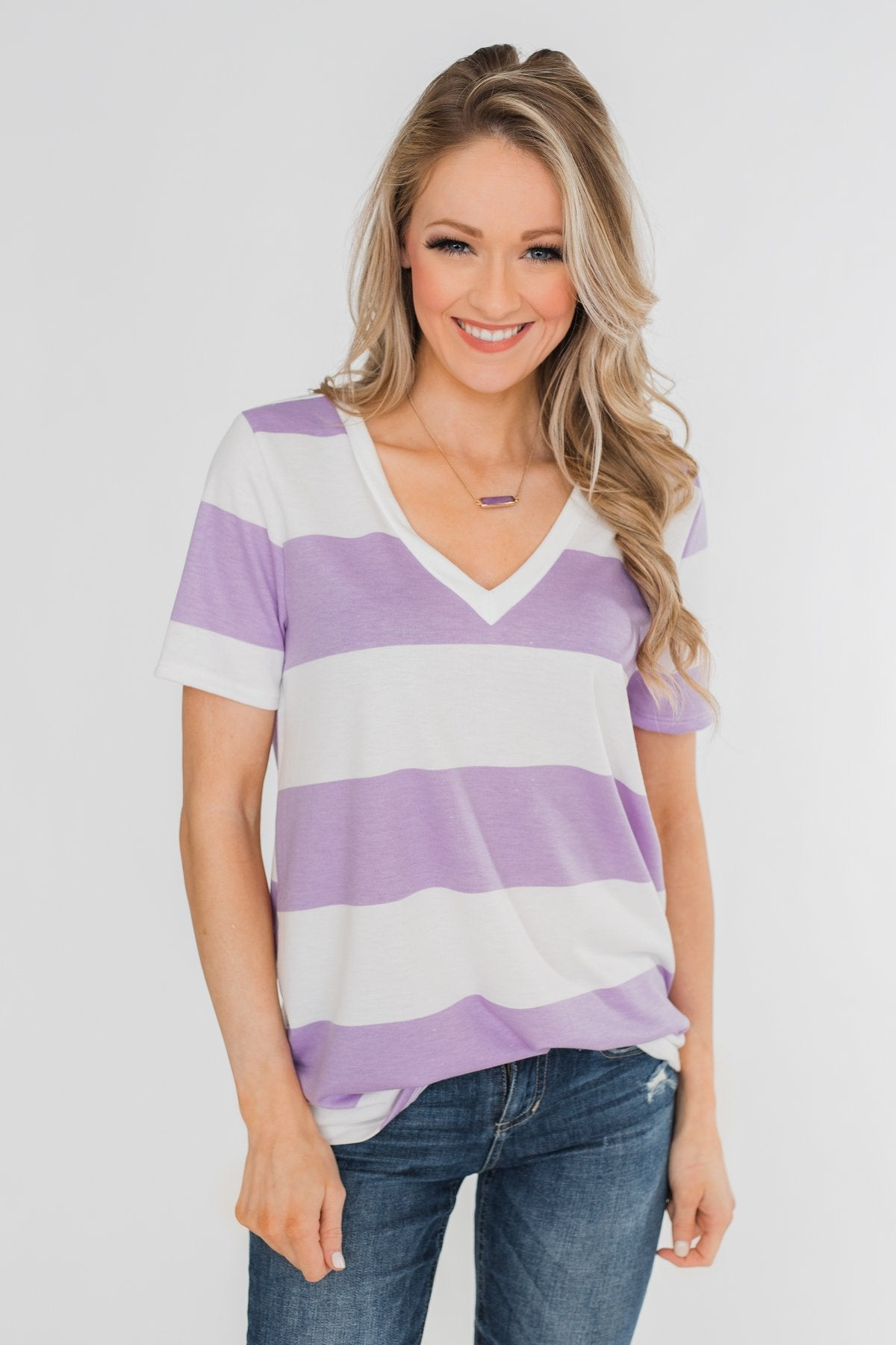 Hello to You Wide Stripe V-Neck Top- Lavender