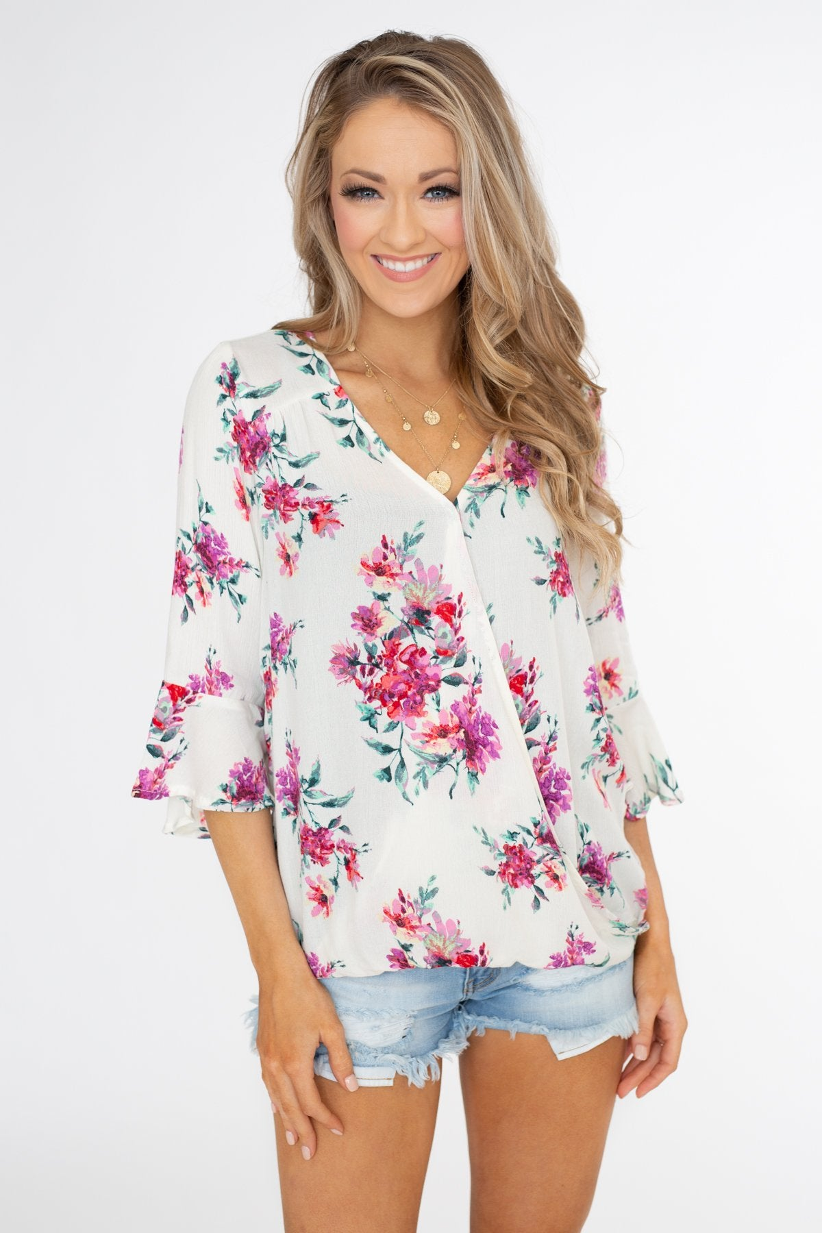 Floral Affection Wrap Blouse- Ivory