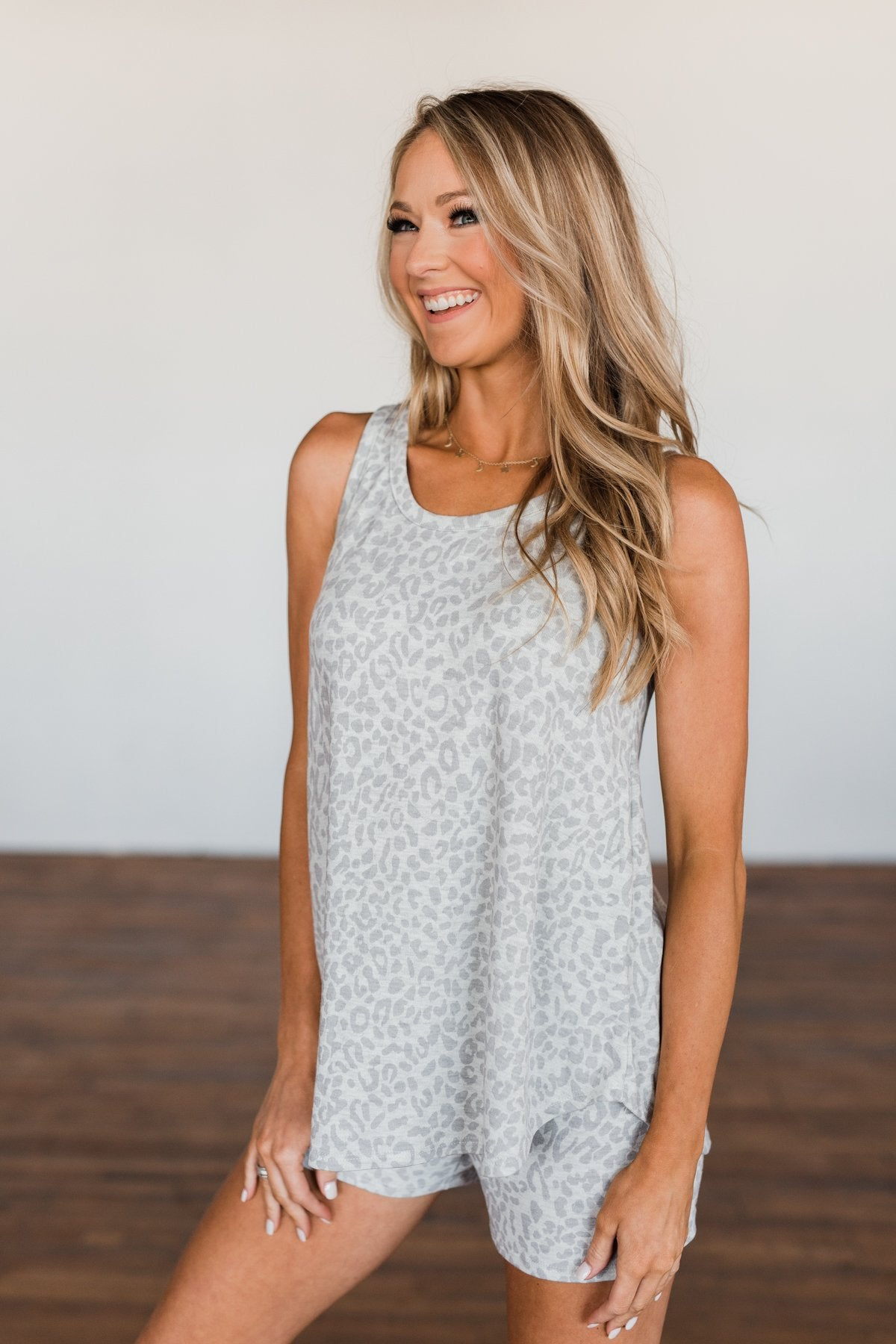Discover Your Journey Leopard Tank Top- Light Grey