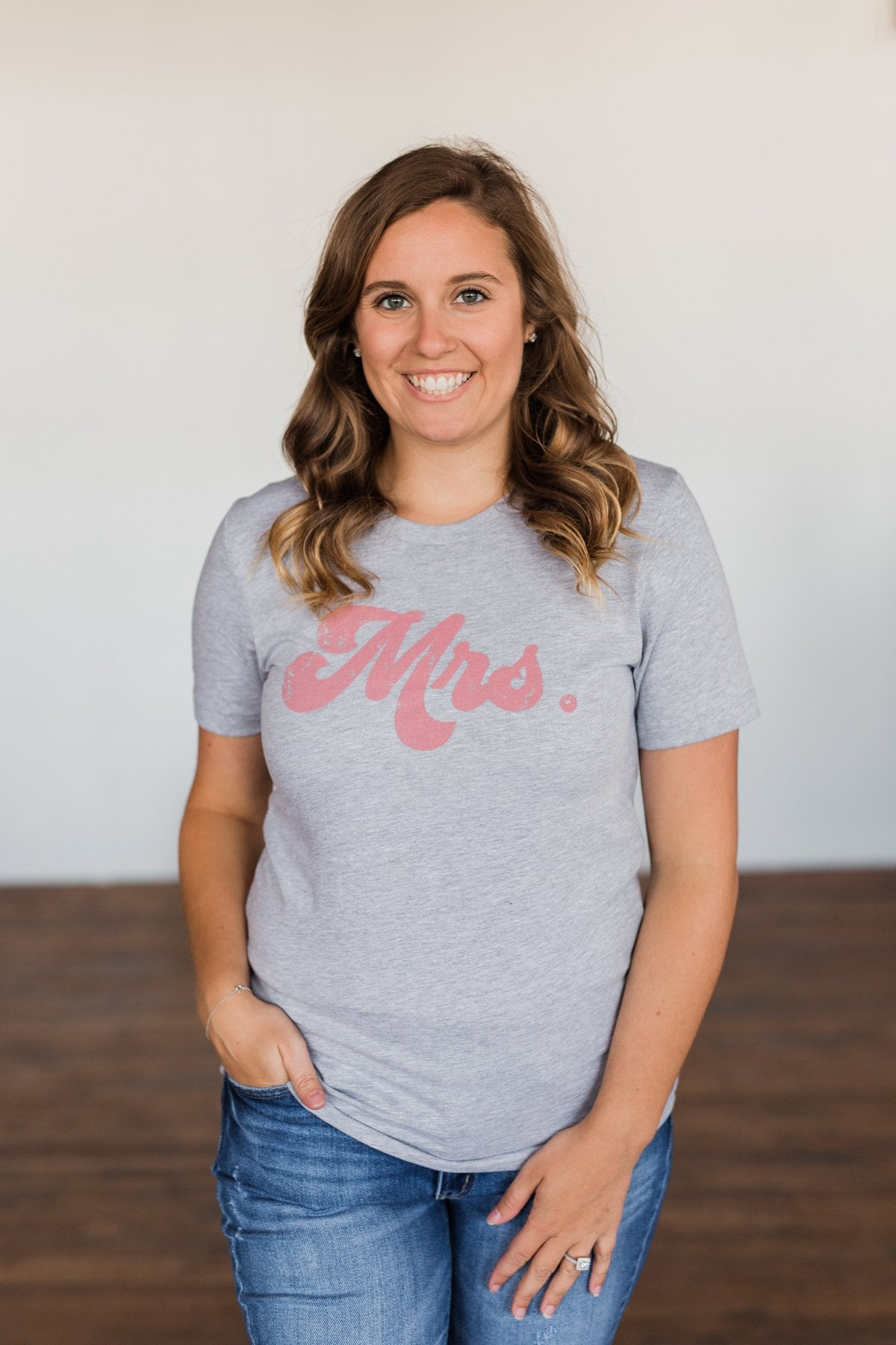 """Mrs."" Graphic Tee- Grey"