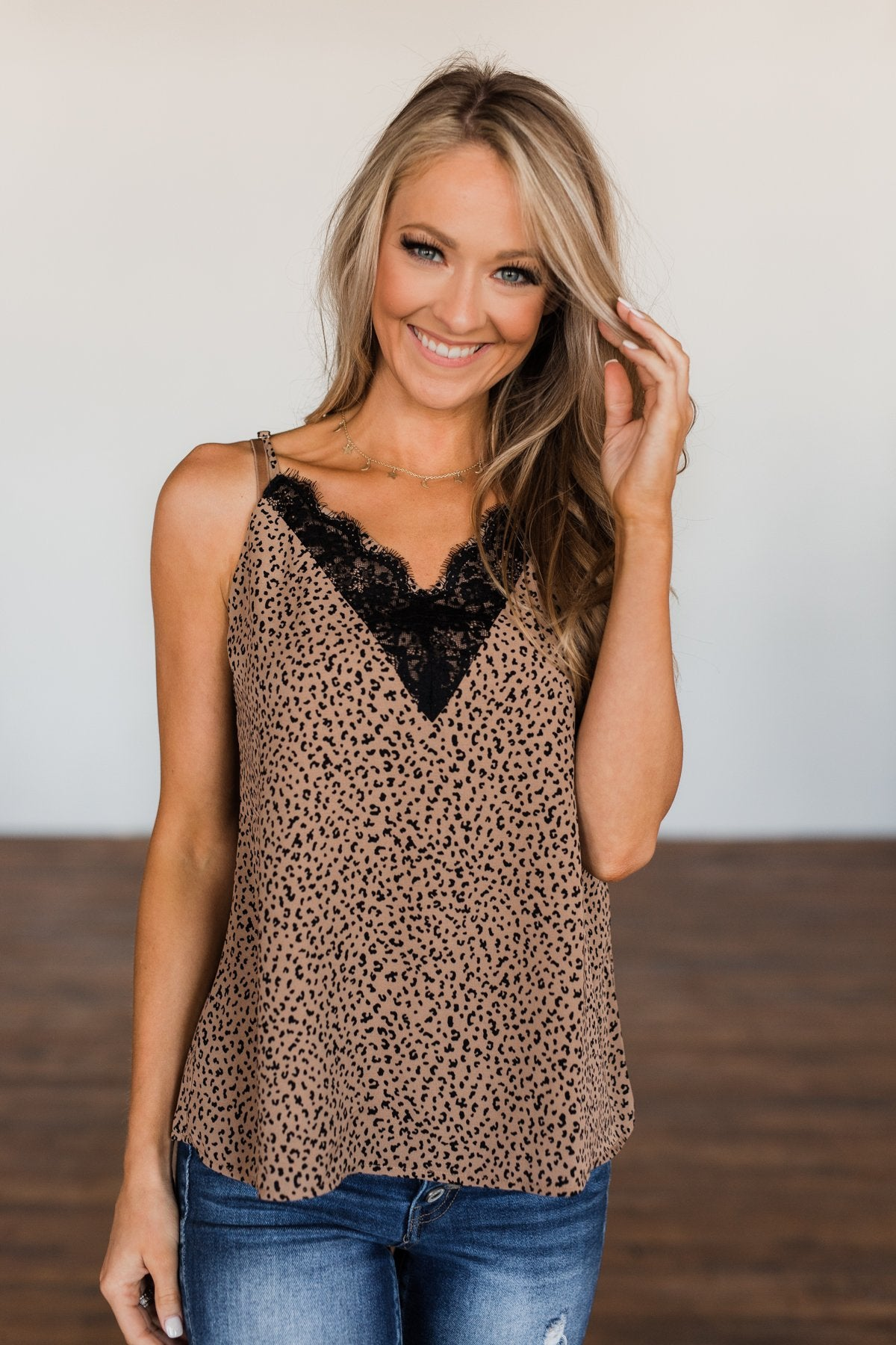 Talk It Out Leopard Lace Shift Tank- Deep Taupe
