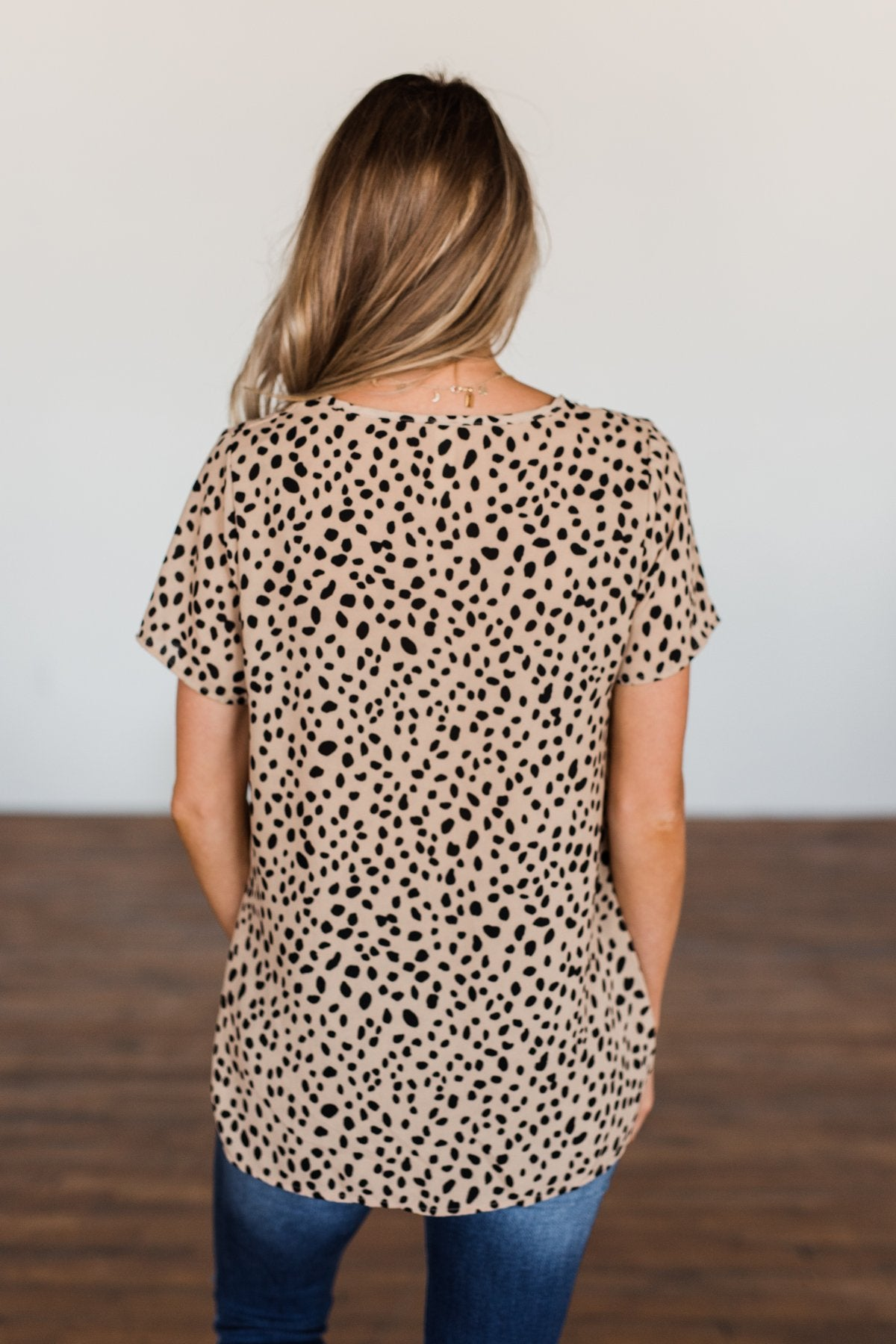 Like It Like That Spotted Button Top- Tan