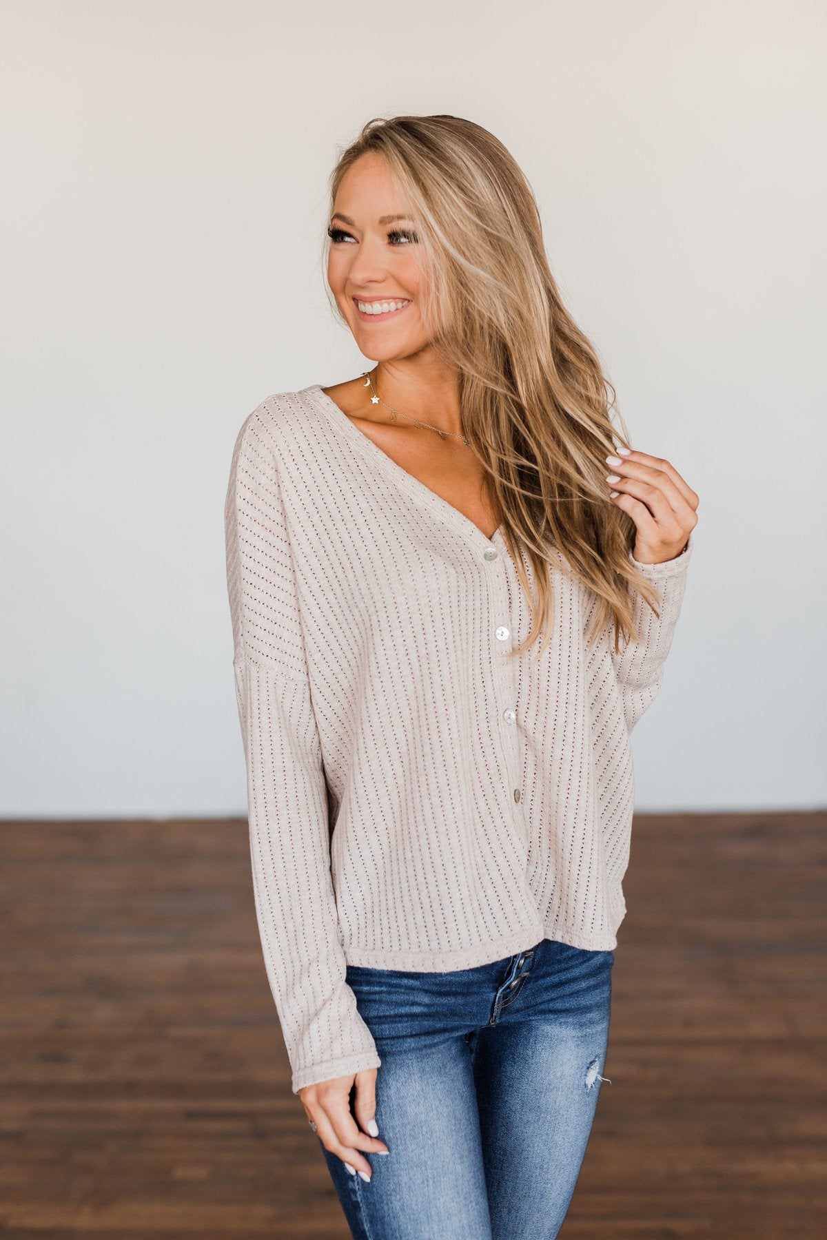 Coming Home To You Knit Button Top- Oatmeal