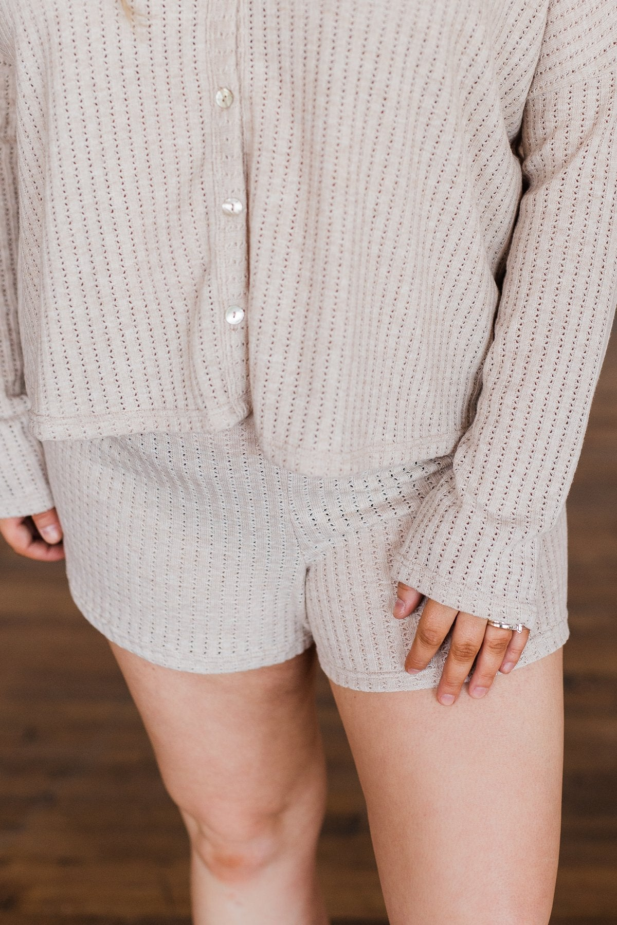 Comfy Knit Lounge Shorts- Oatmeal