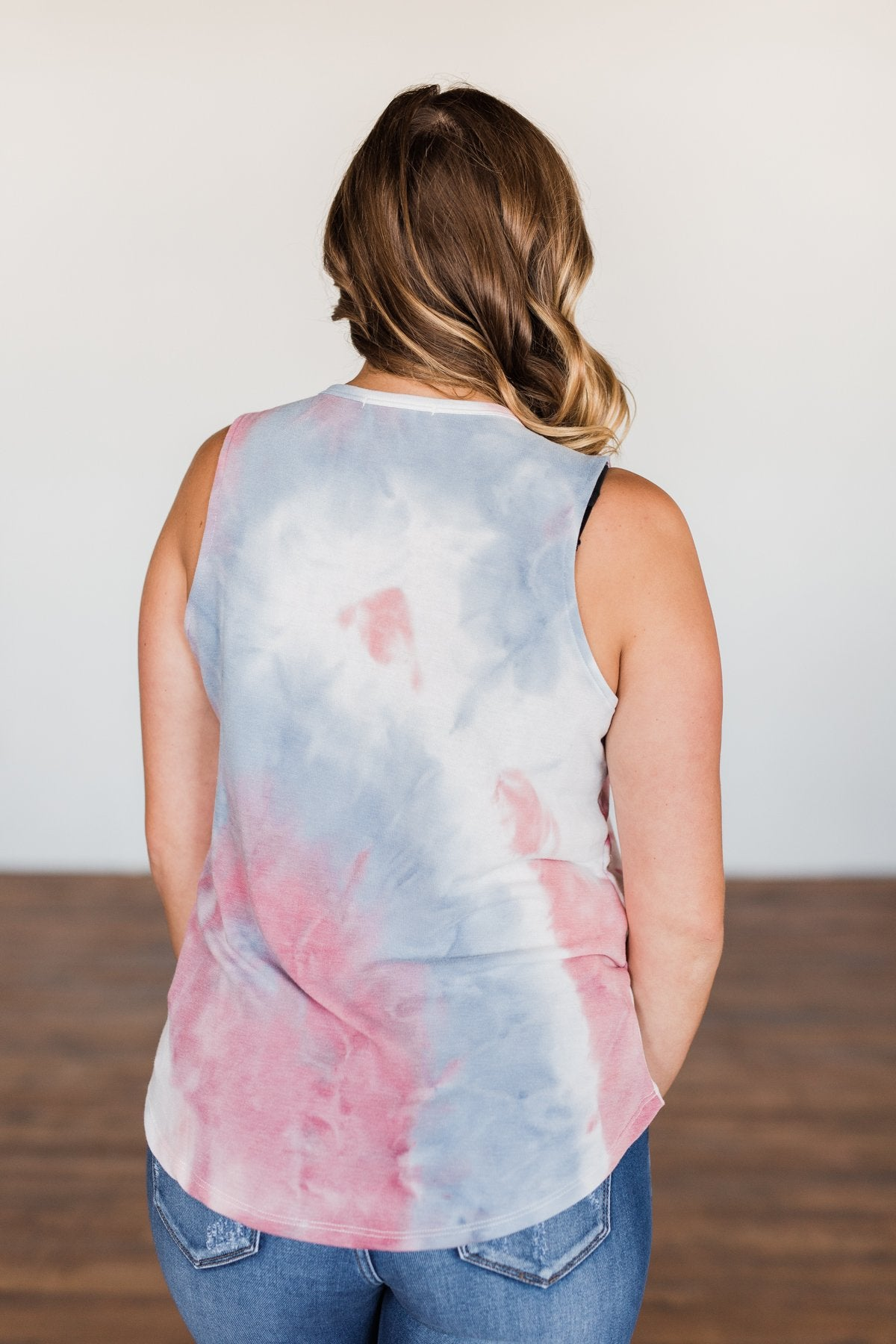 Brighten My Summer Tie Dye Tank Top- Blue, Pink, Ivory
