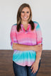 All This Love Color Block Top- Fuchsia, Mint, & Purple