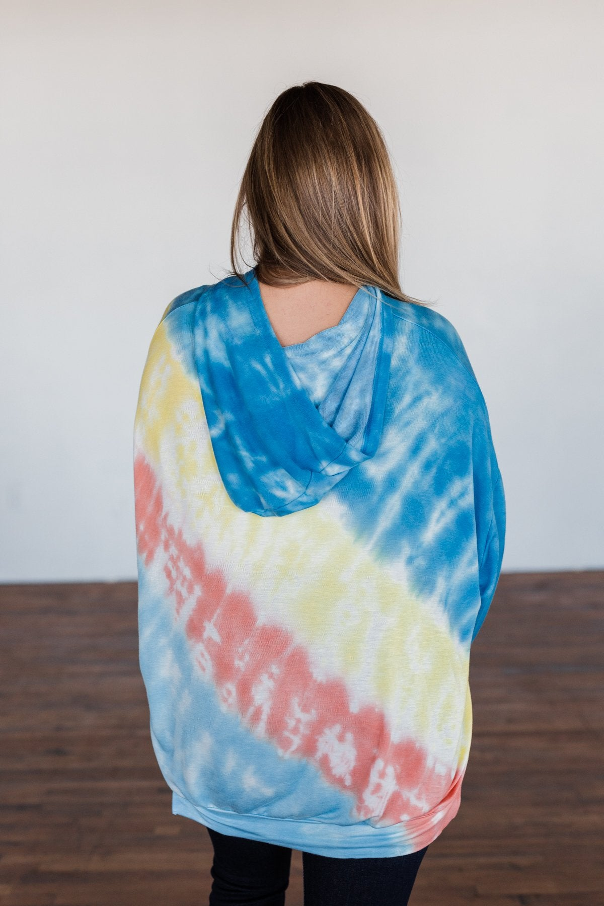 Dreaming of Sunshine Oversized Hoodie- Blue, Yellow, & Coral