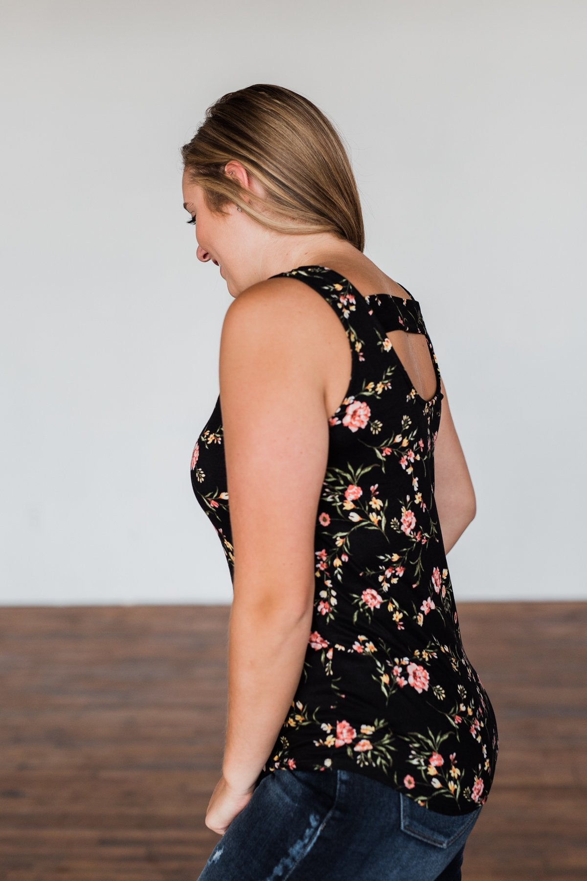 Let's Begin Again Floral Tank Top- Black